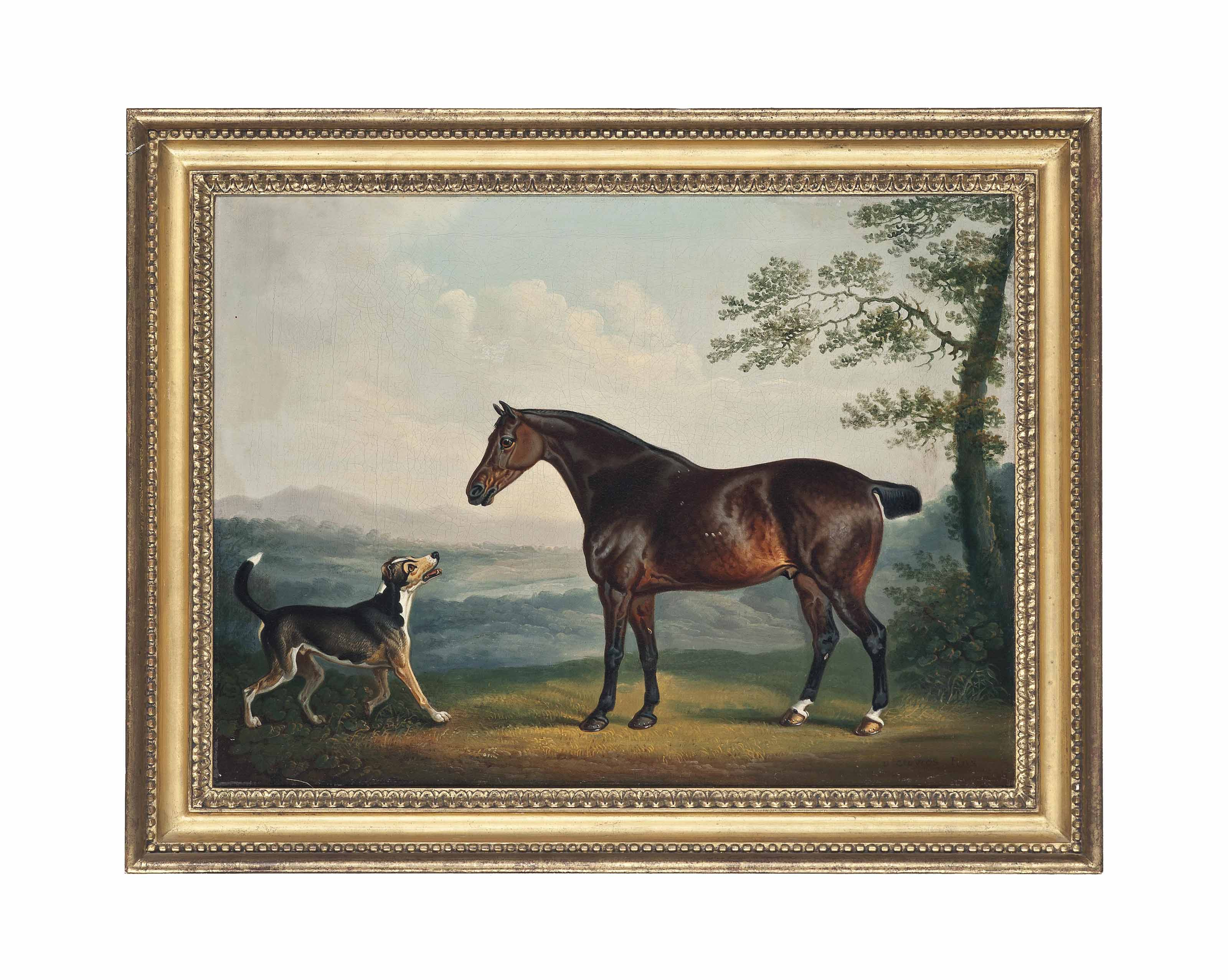 A horse and a hound in a wooded landscape