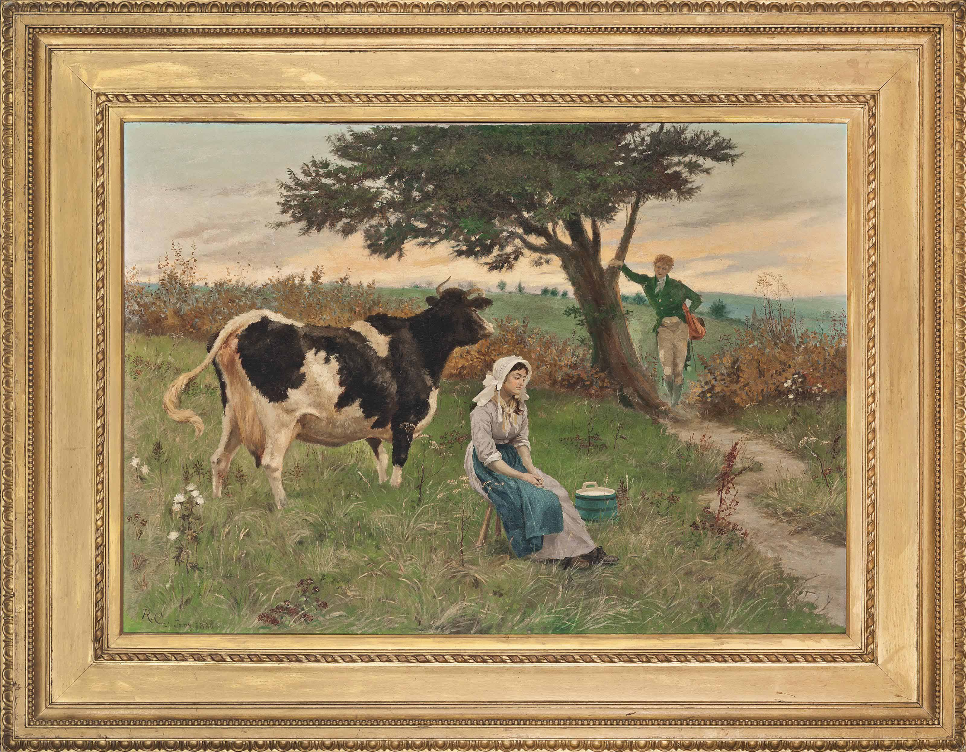 The dairymaid and her admirers