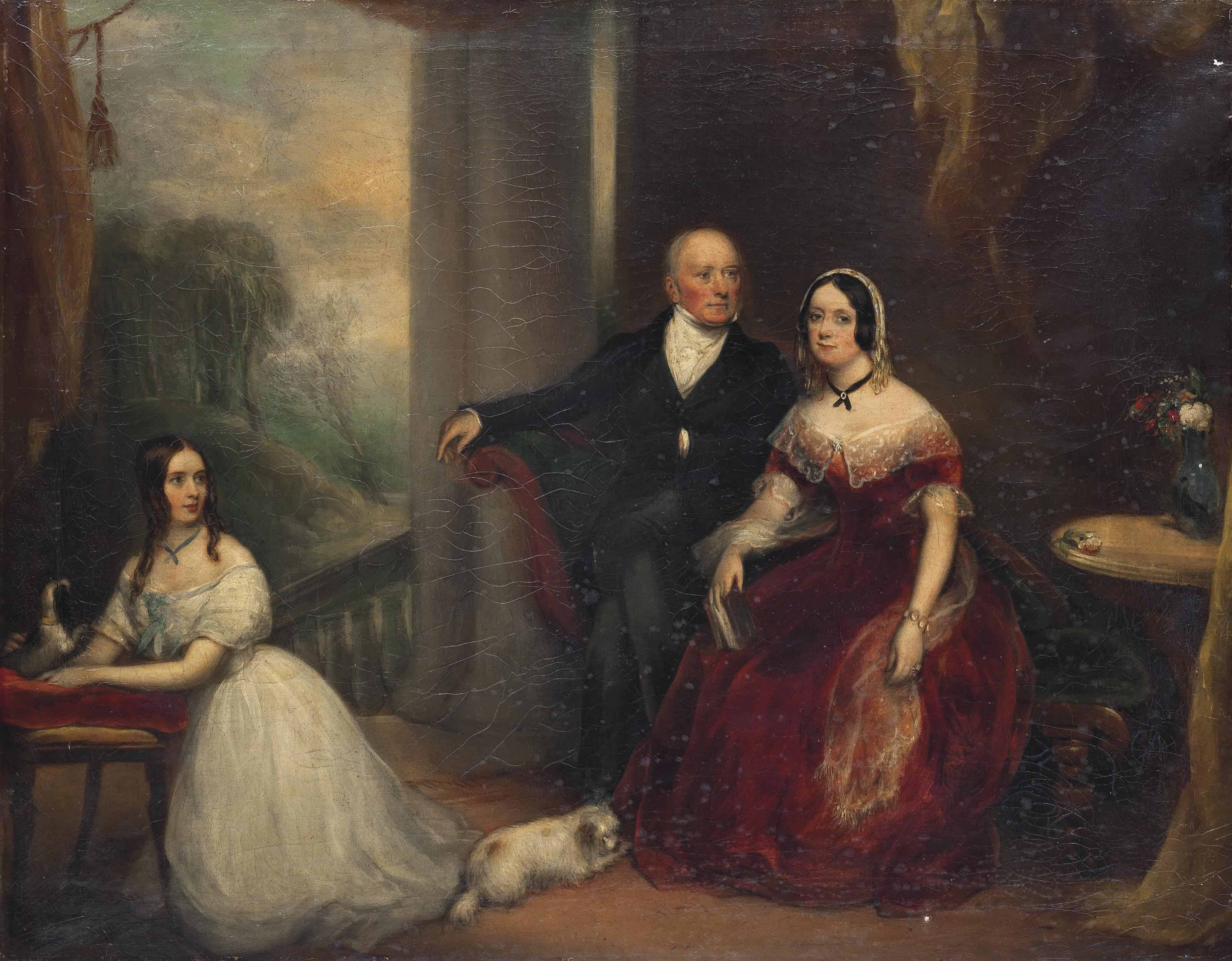Portrait of the Second Lord Dunalley, his wife Maud, their daughter and her dog