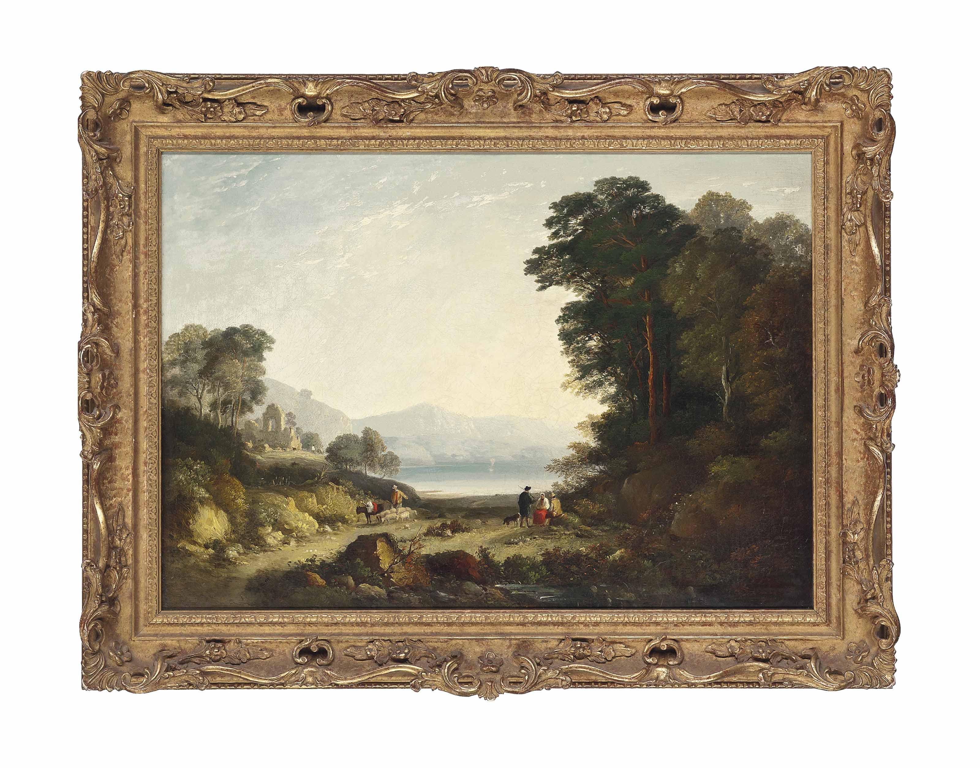 A wooded mountainous landscape, with shepherds and their flock by a lake