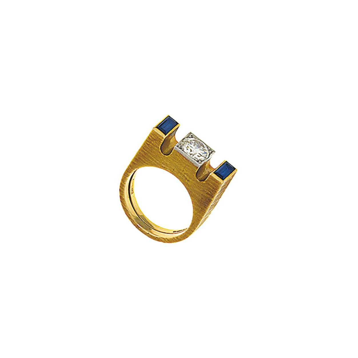 An 18ct gold, diamond and sapphire ring, by Andrew Grima