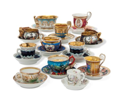 TWELVE RUSSIAN PORCELAIN CUPS