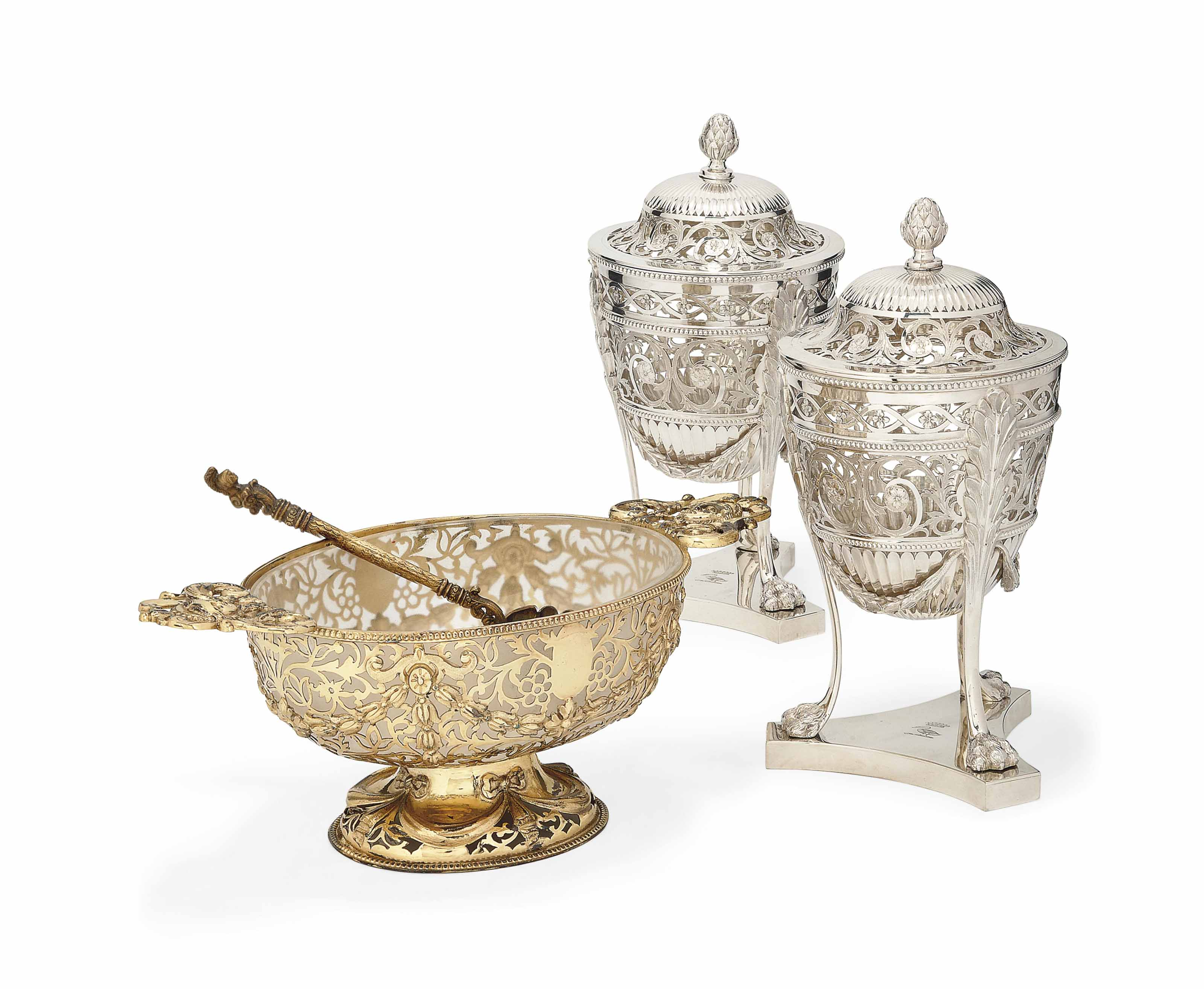 A PAIR OF VICTORIAN SILVER SUGAR VASES OF URN FORM