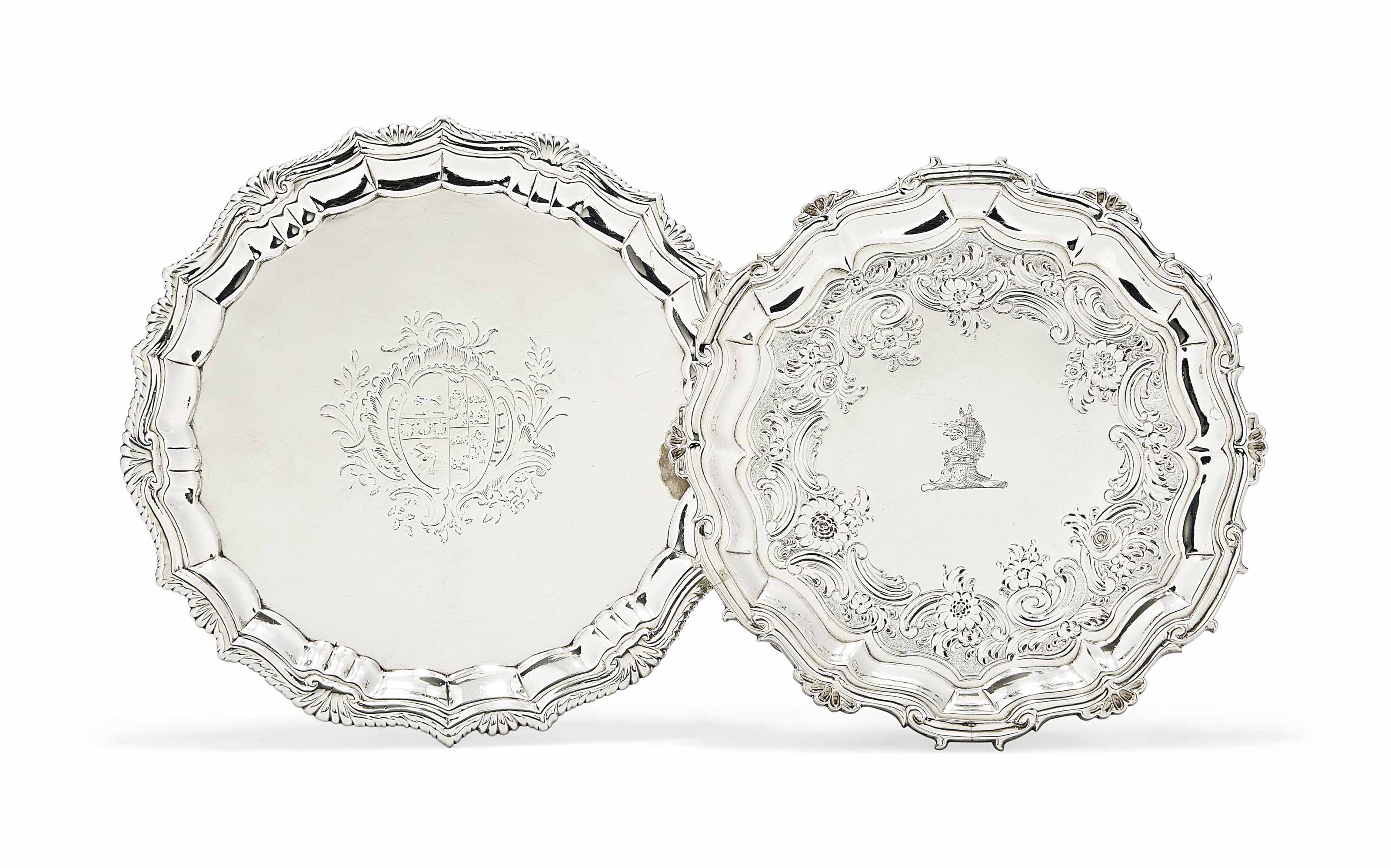 A SMALL GEORGE II SILVER SALVER