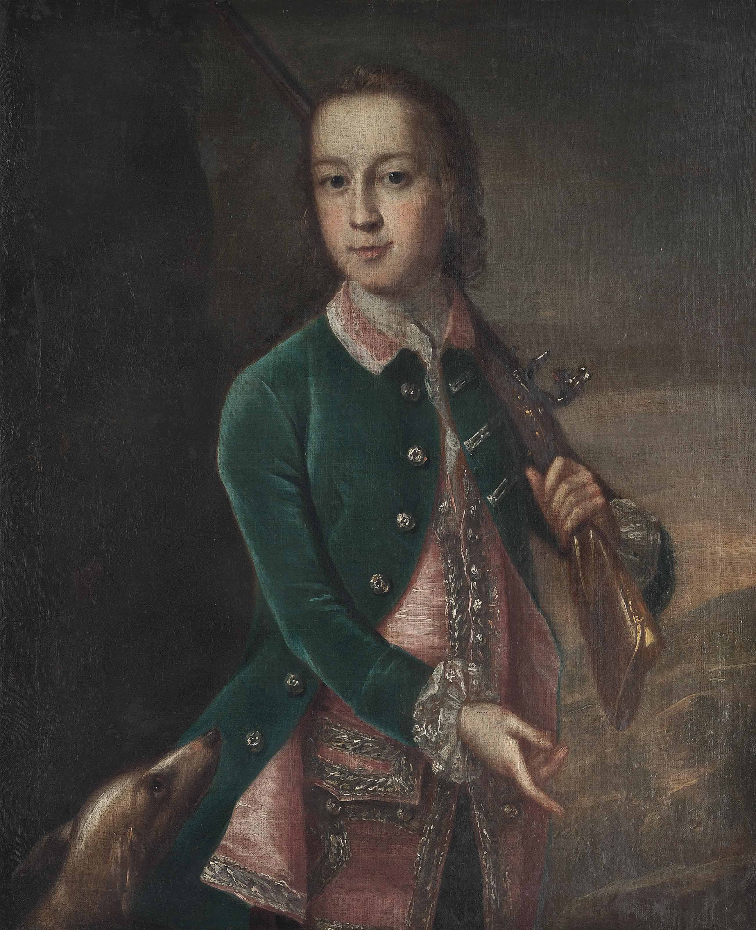 Portrait of a boy in a green velvet coat, three-quarter-length, holding a gun, a dog to his side, in a landscape