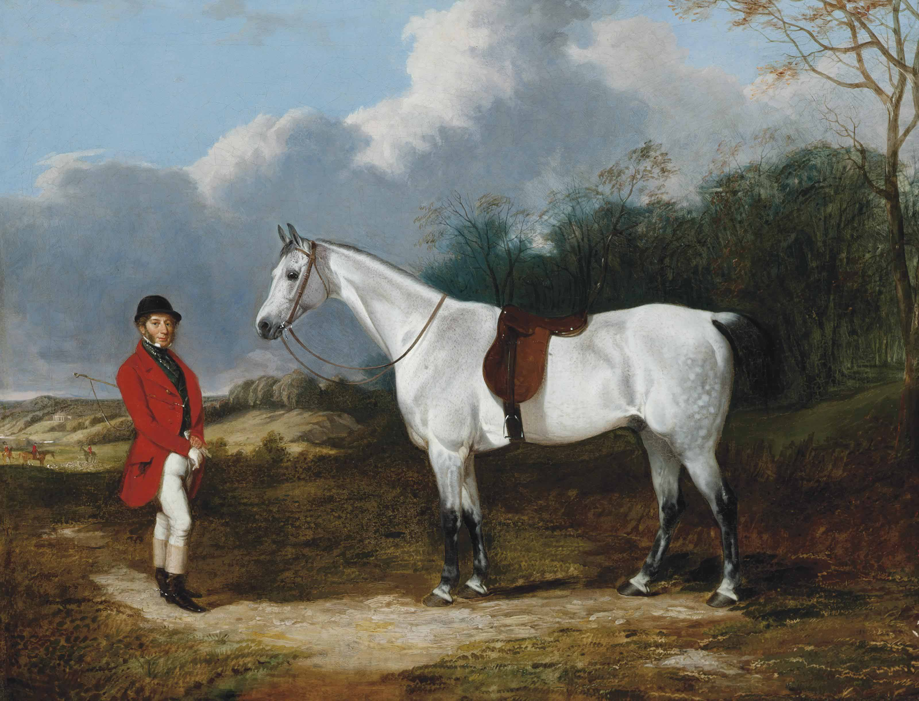 A gentleman and his dappled grey hunter, in an extensive landscape with a hunt beyond