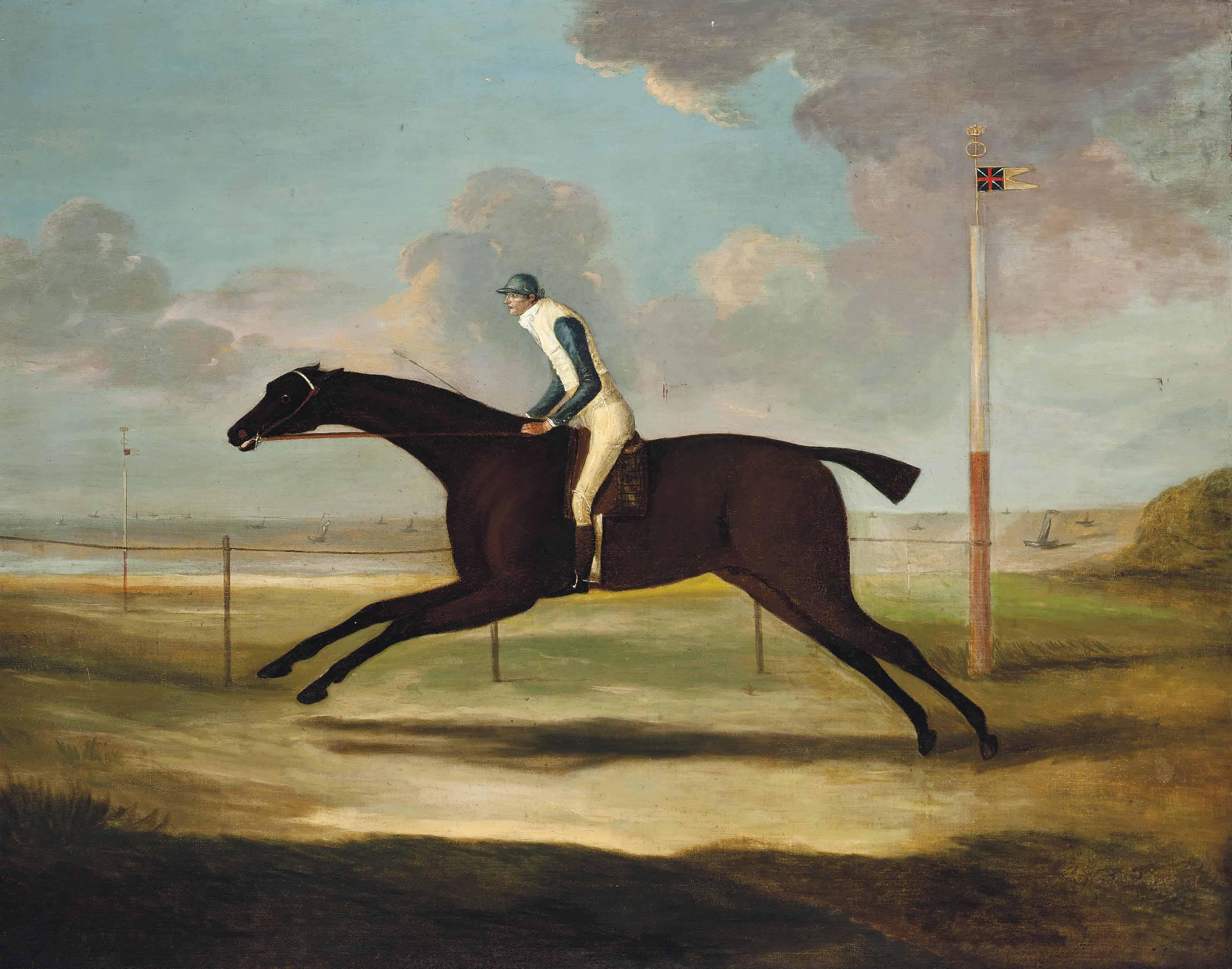 Scorpion, with jockey up, on Musselburgh racecourse