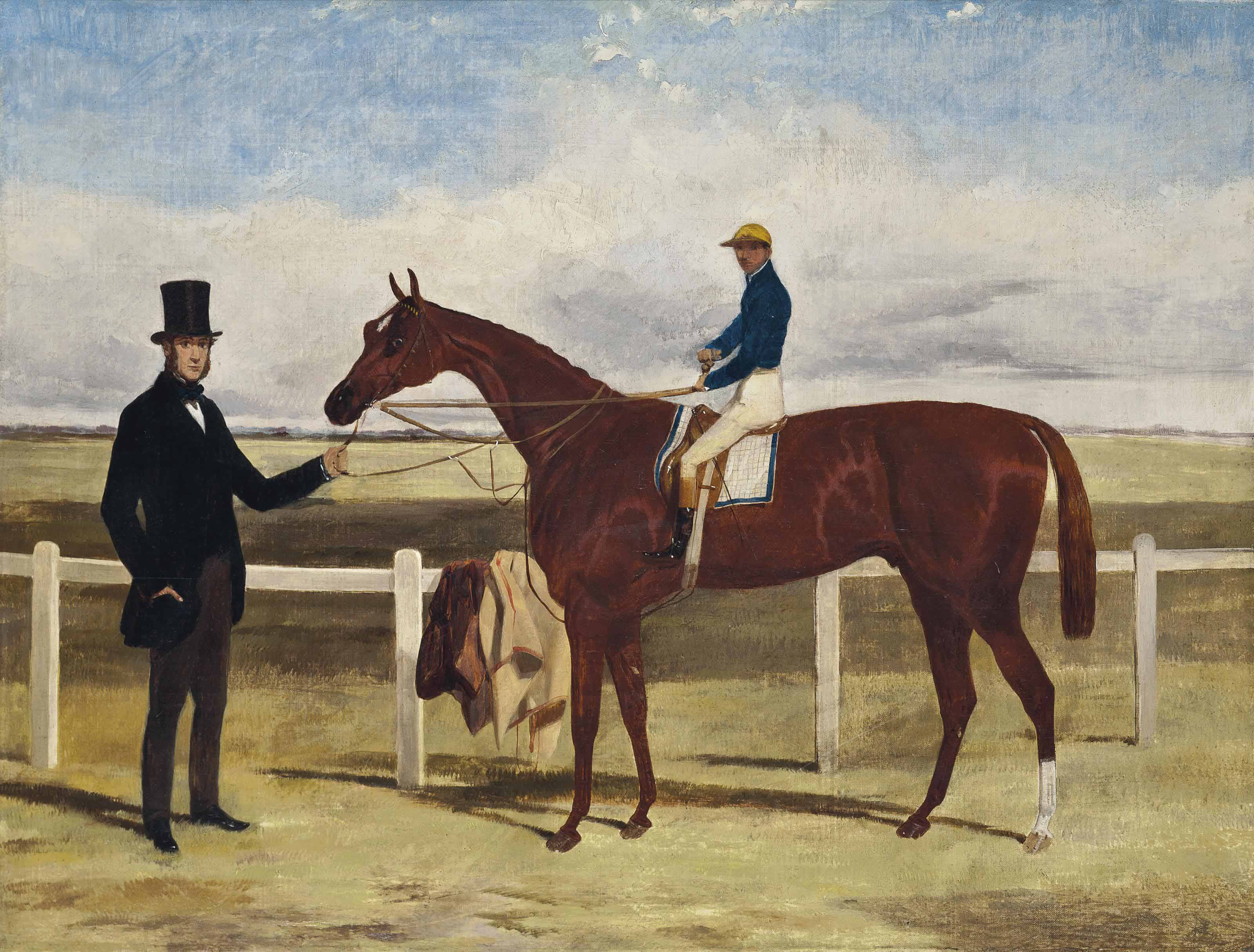 A favourite racehorse, with jockey up