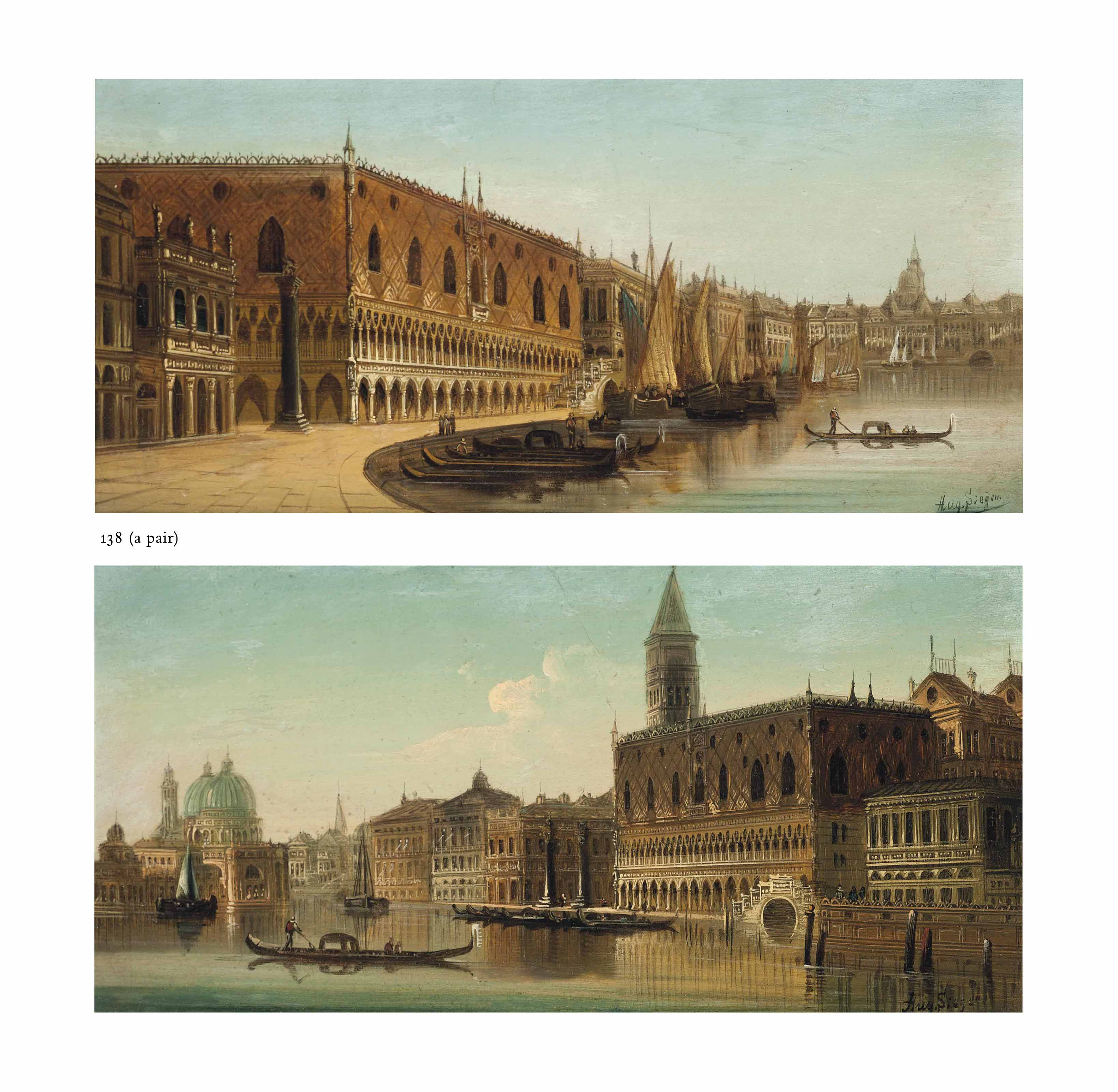 A gondolier at the Molo, Venice; and A gondolier before the entrance to the Grand Canal, Venice