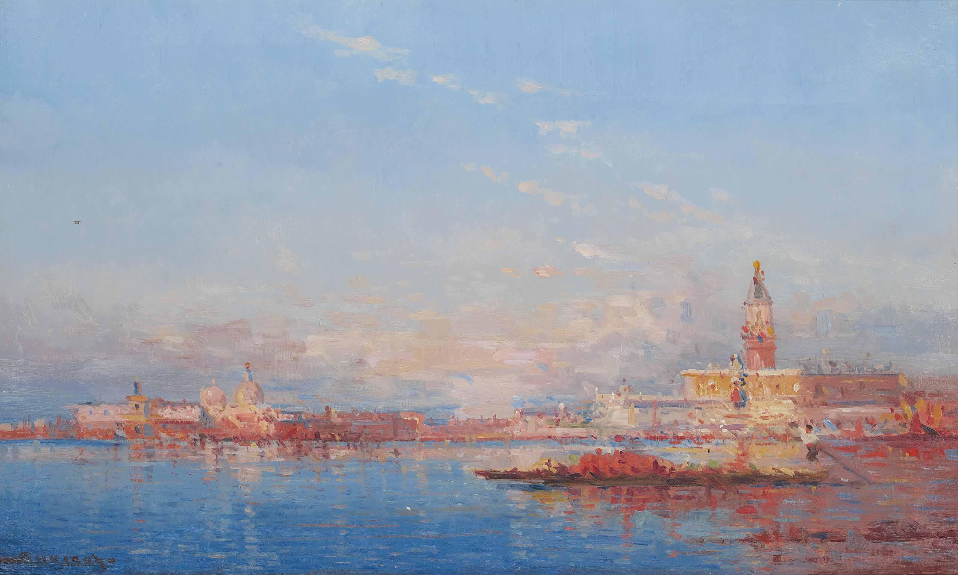 A trading vessel on the Venetian lagoon