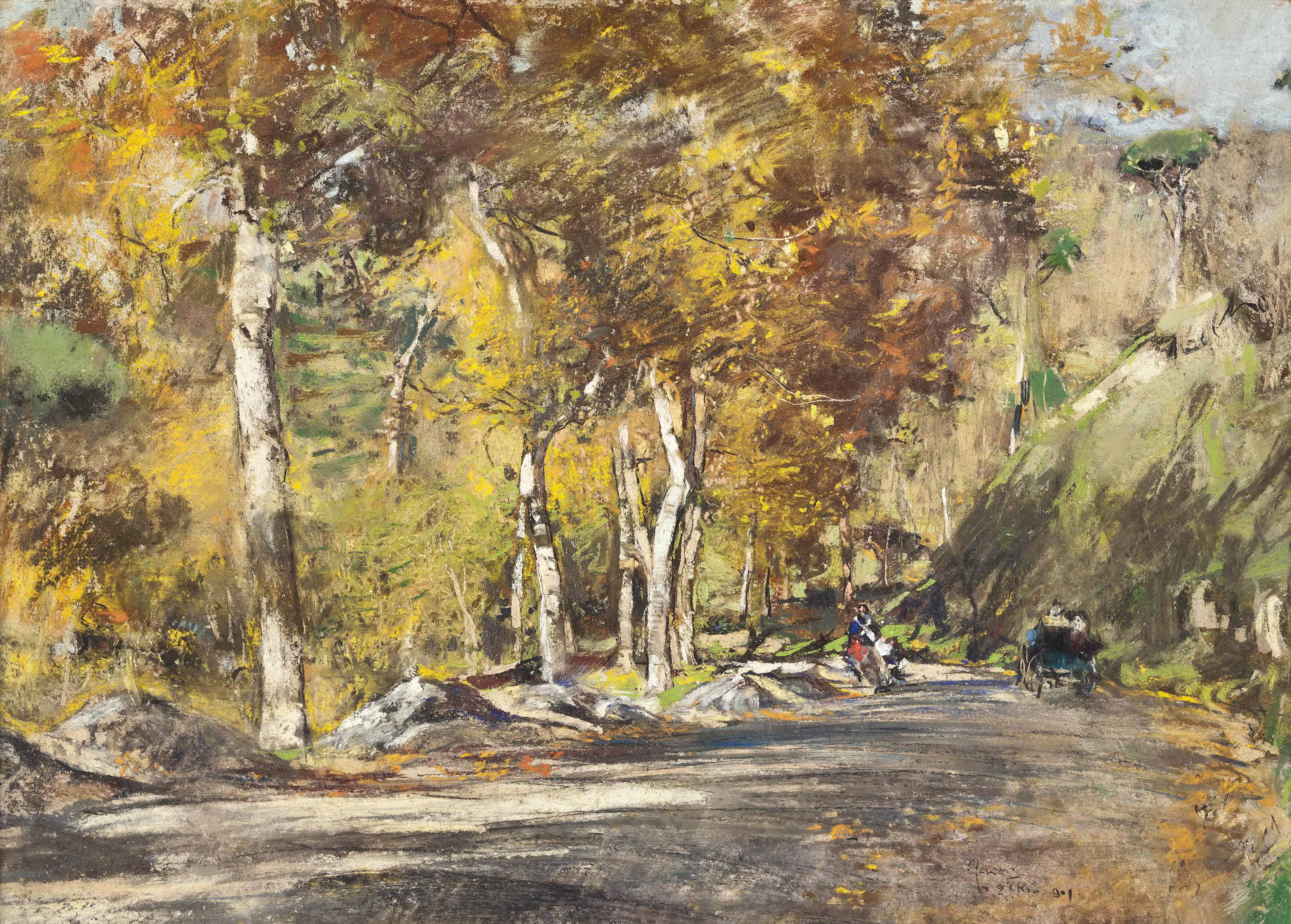 Travellers on a woodland track, possibly Capri