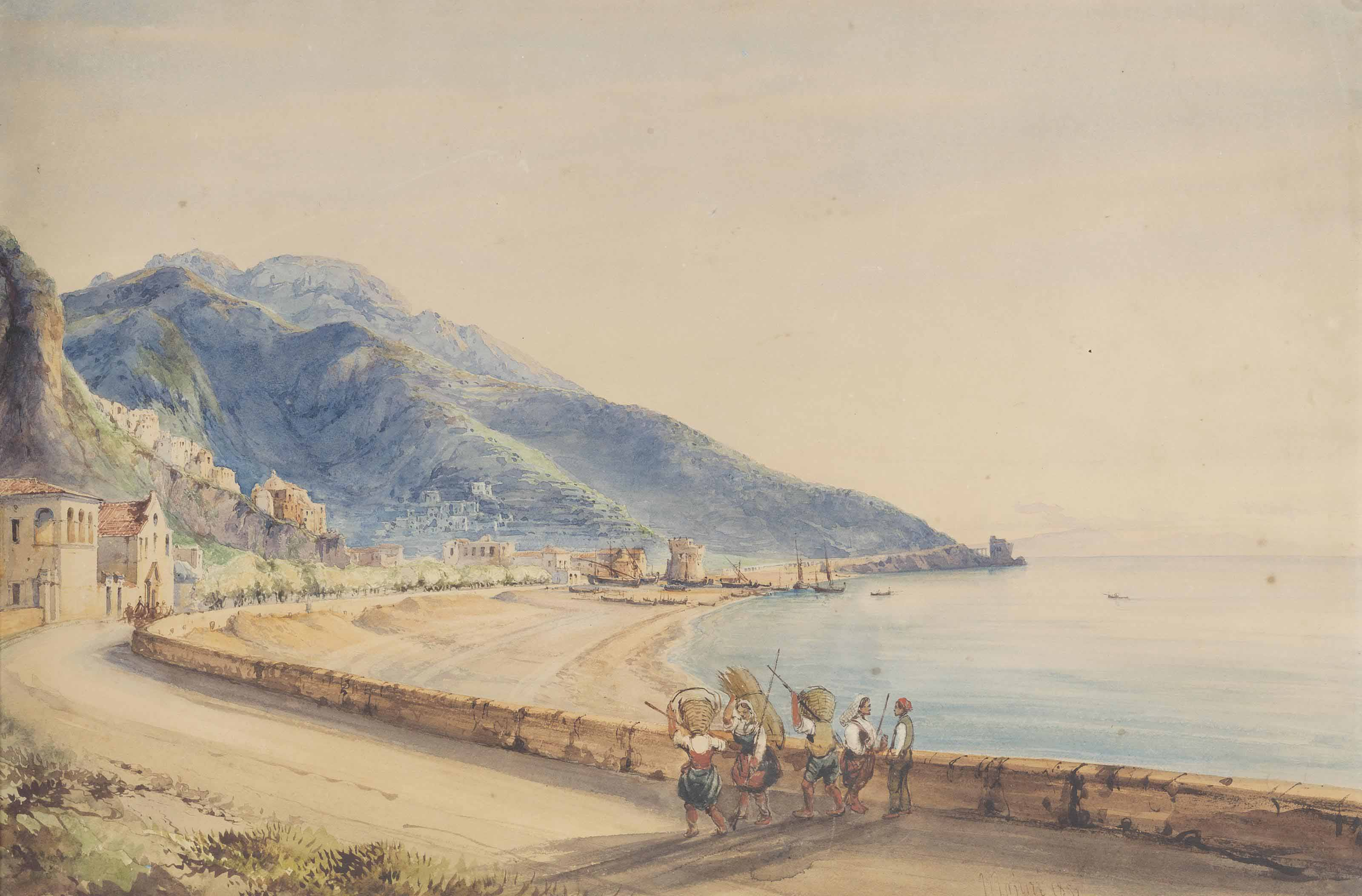Peasants on a coastal road, Majorca