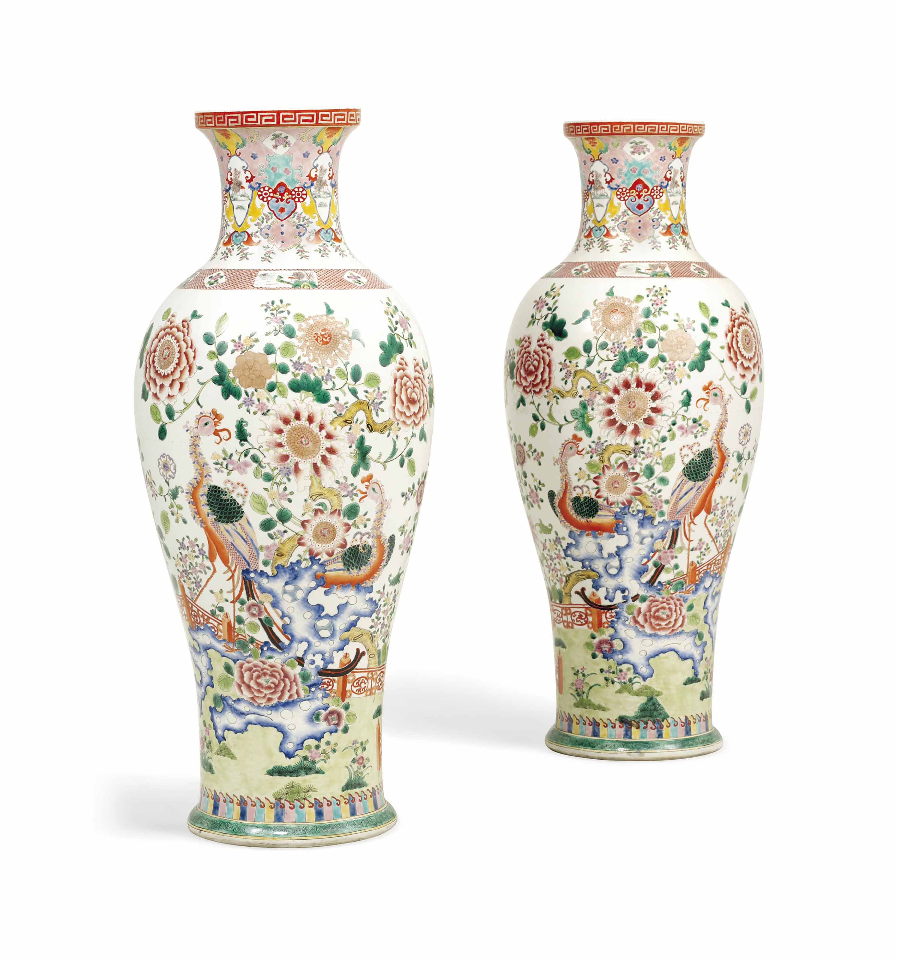A PAIR OF LARGE CHINESE-STYLE BALUSTER VASES OF LARGE SIZE