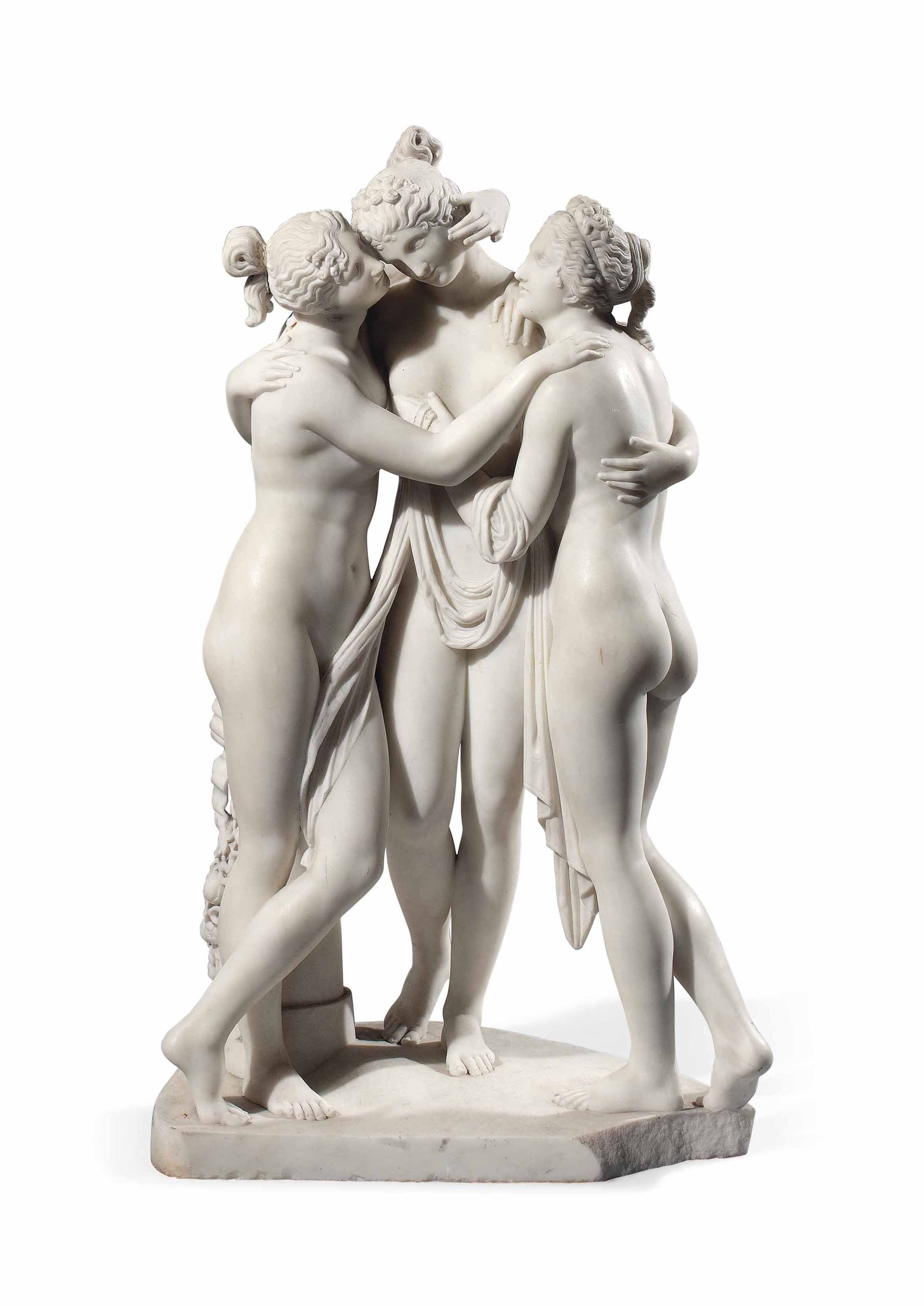 A CARRARA MARBLE GROUP OF THE THREE GRACES
