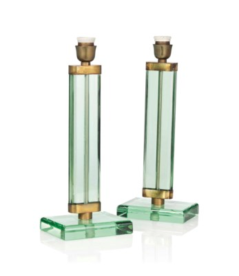 A PAIR OF GLASS AND BRASS TABL