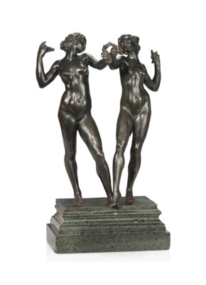 AN ENGLISH BRONZE GROUP OF TWO