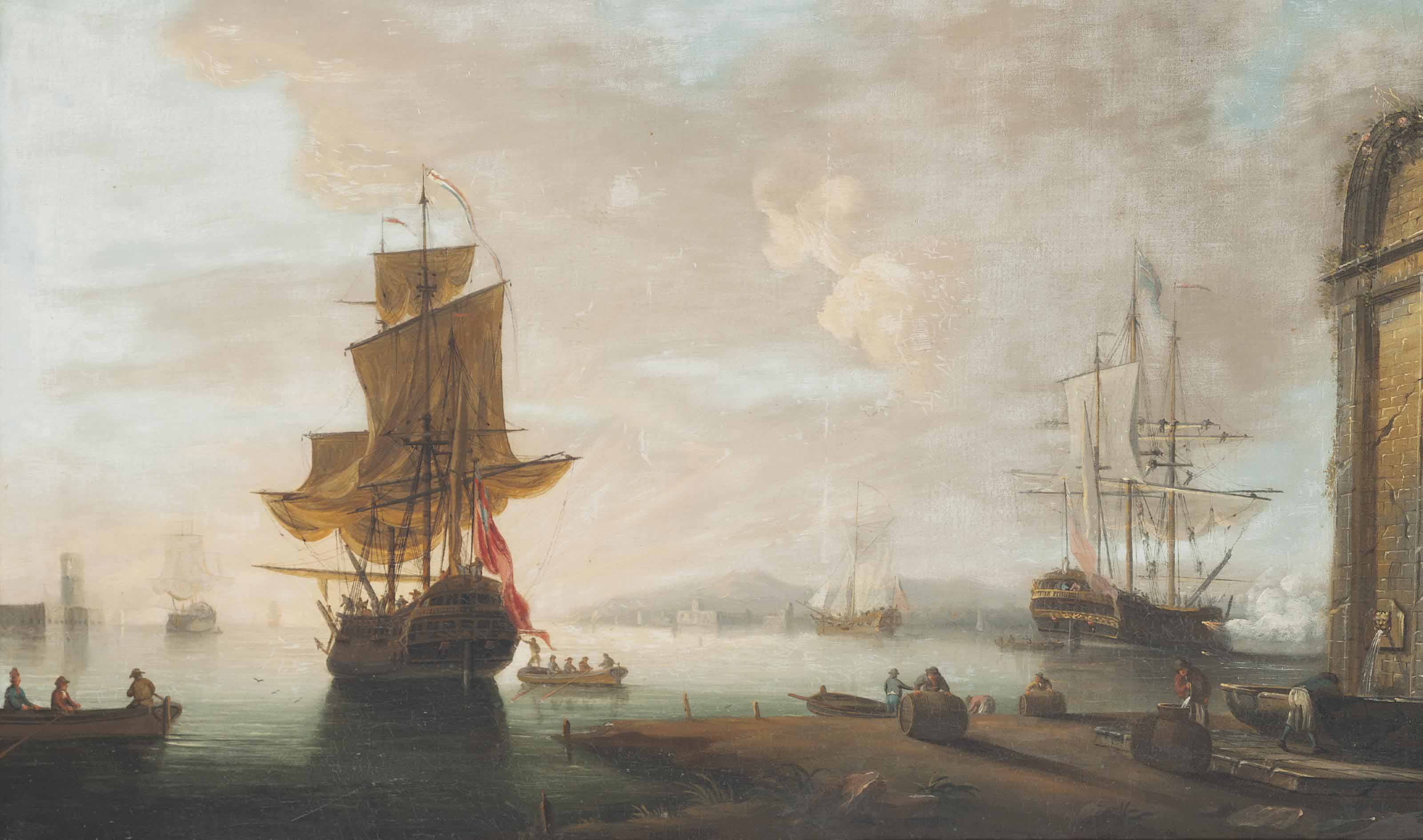 Two British men-o'war and an Admiralty yacht preparing to get underway from the port of Leghorn, with one firing a salute to announce their departure