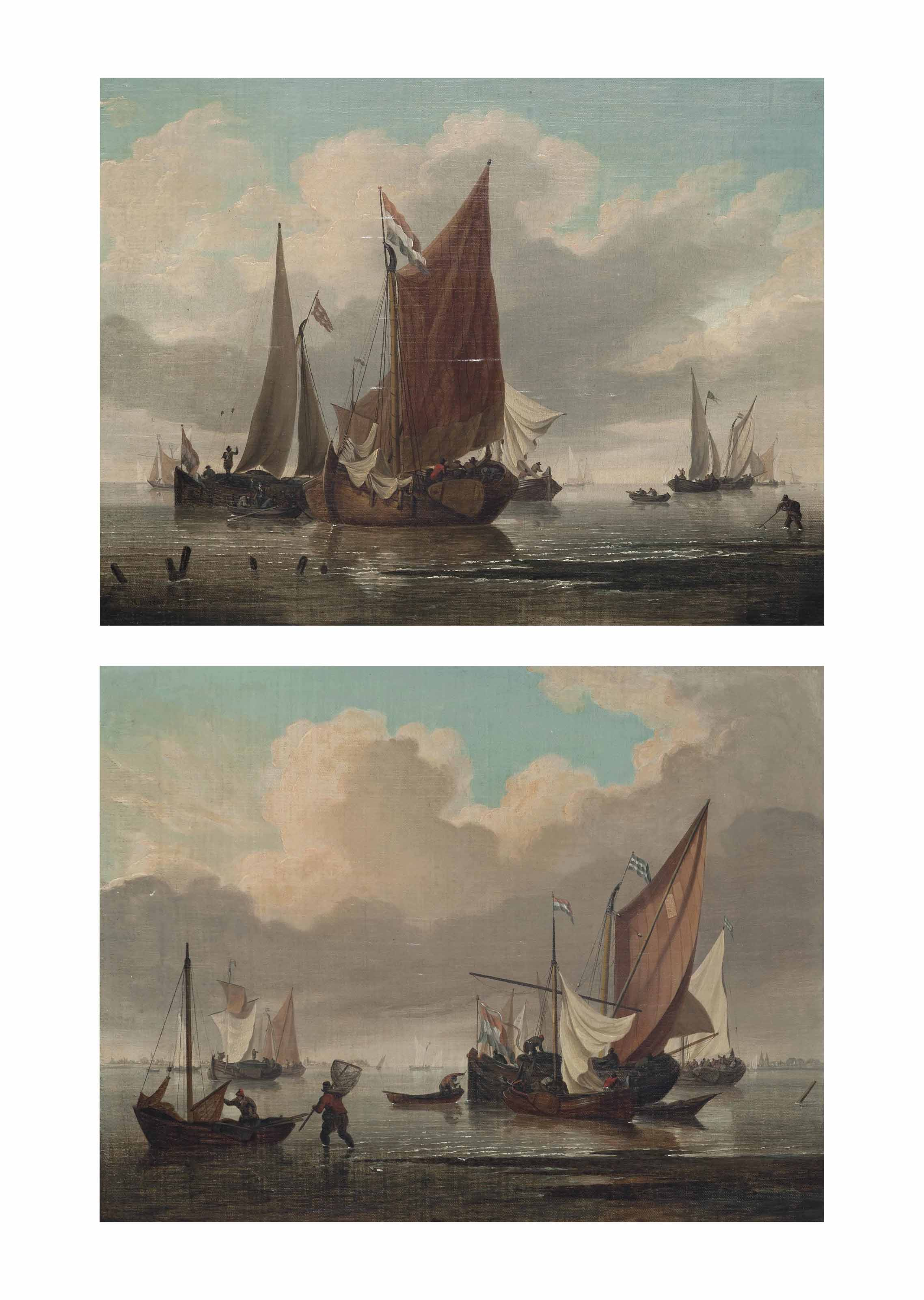 Dutch smalschips and hookers in a calm on the Scheldt; and Dutch smalschips returning to their anchorage on the Scheldt (both illustrated)