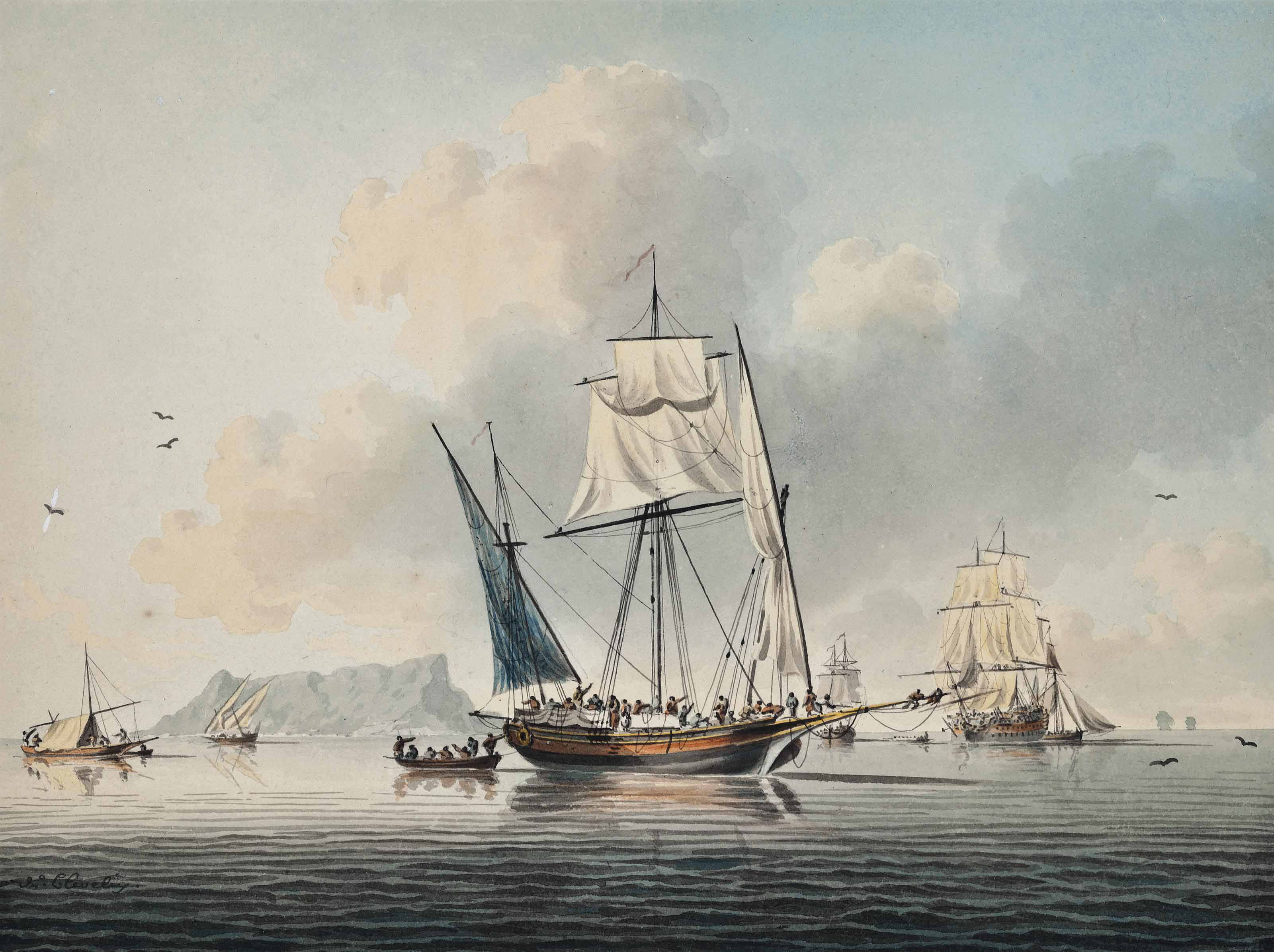 A crowded xebec, a British warship and other shipping in a calm off Gibraltar