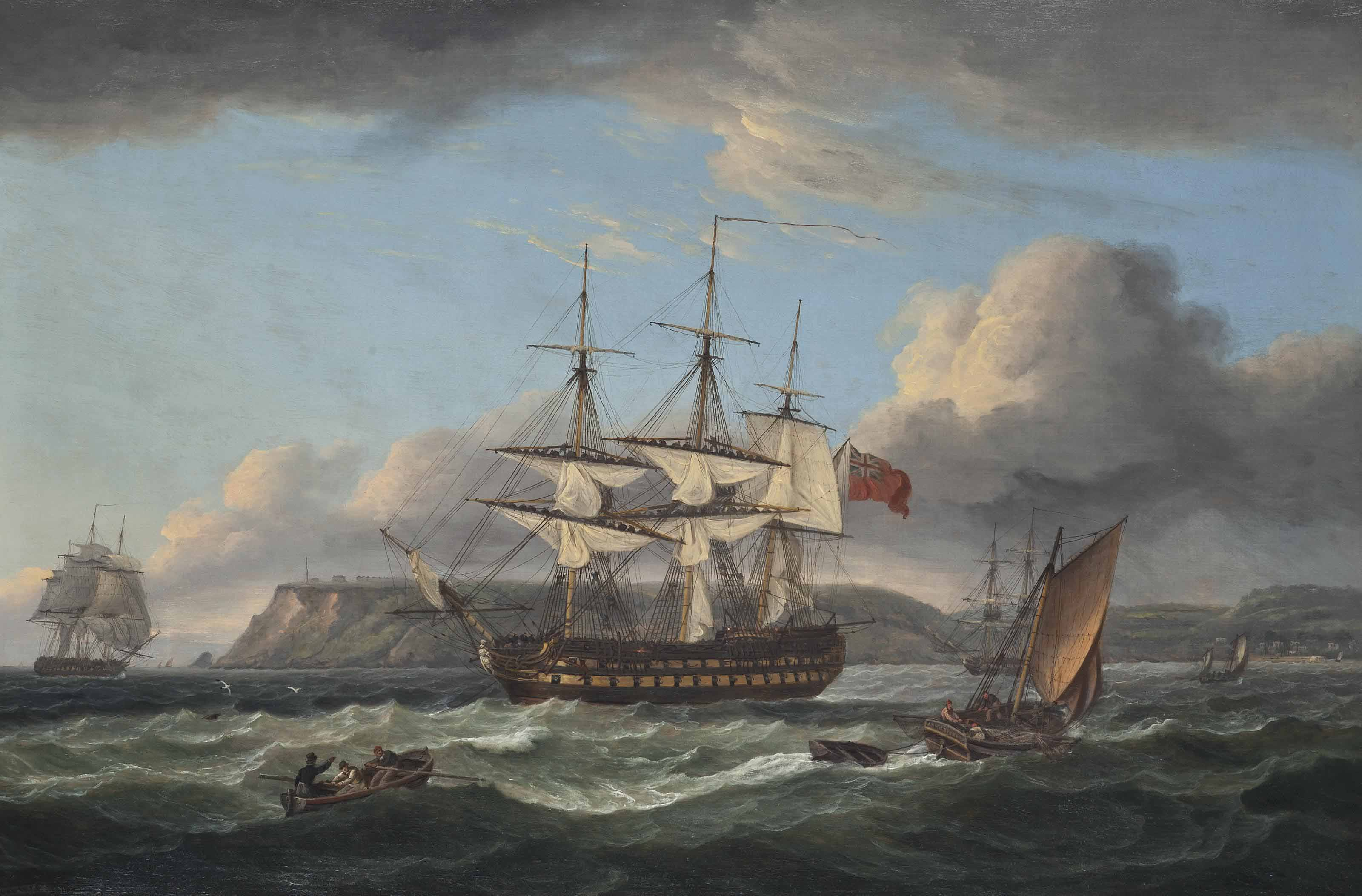 H.M.S. Bellerophon making sail out of Torbay with the defeated Emperor Napoleon aboard, 26th July 1815