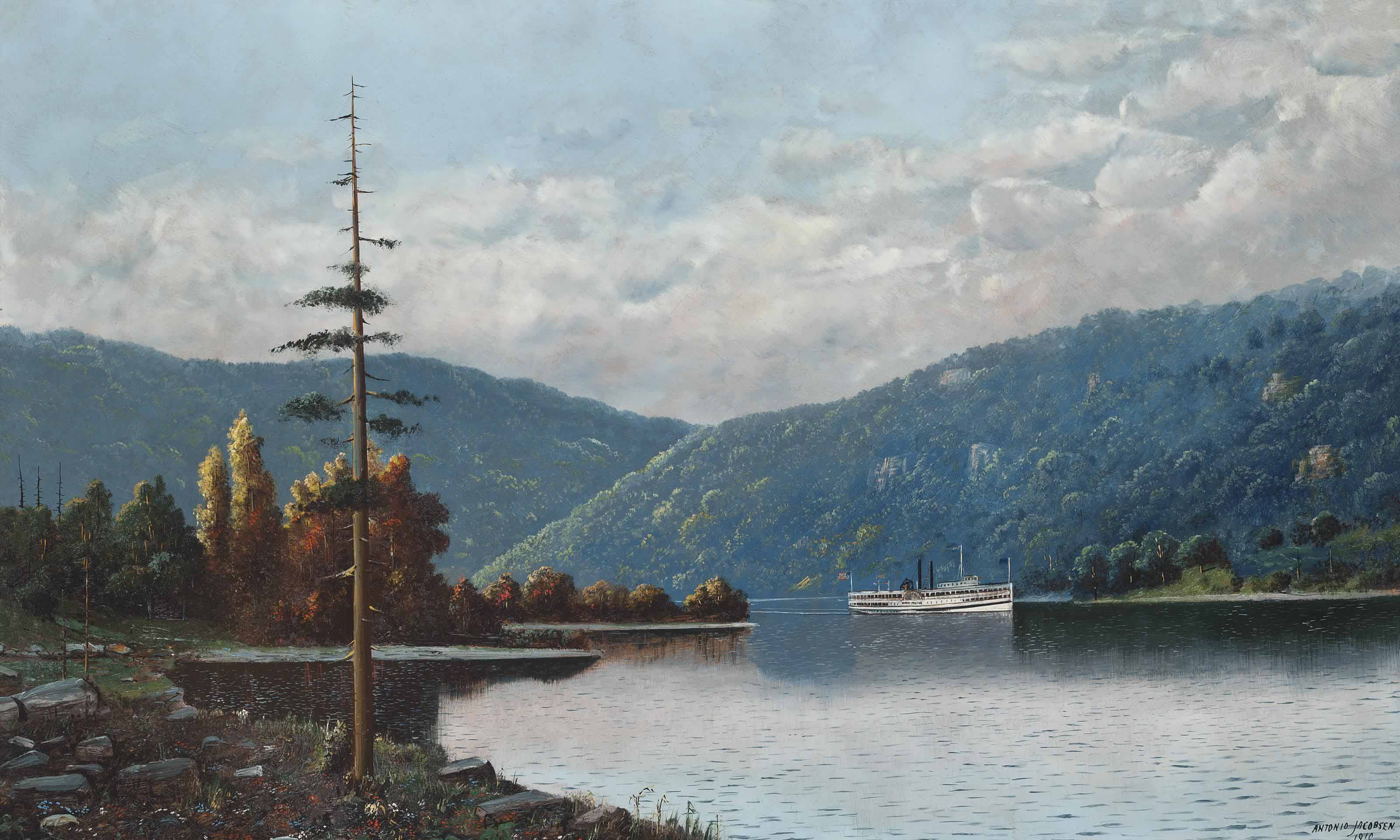 Onteora rounding a bend in the Hudson River, New York