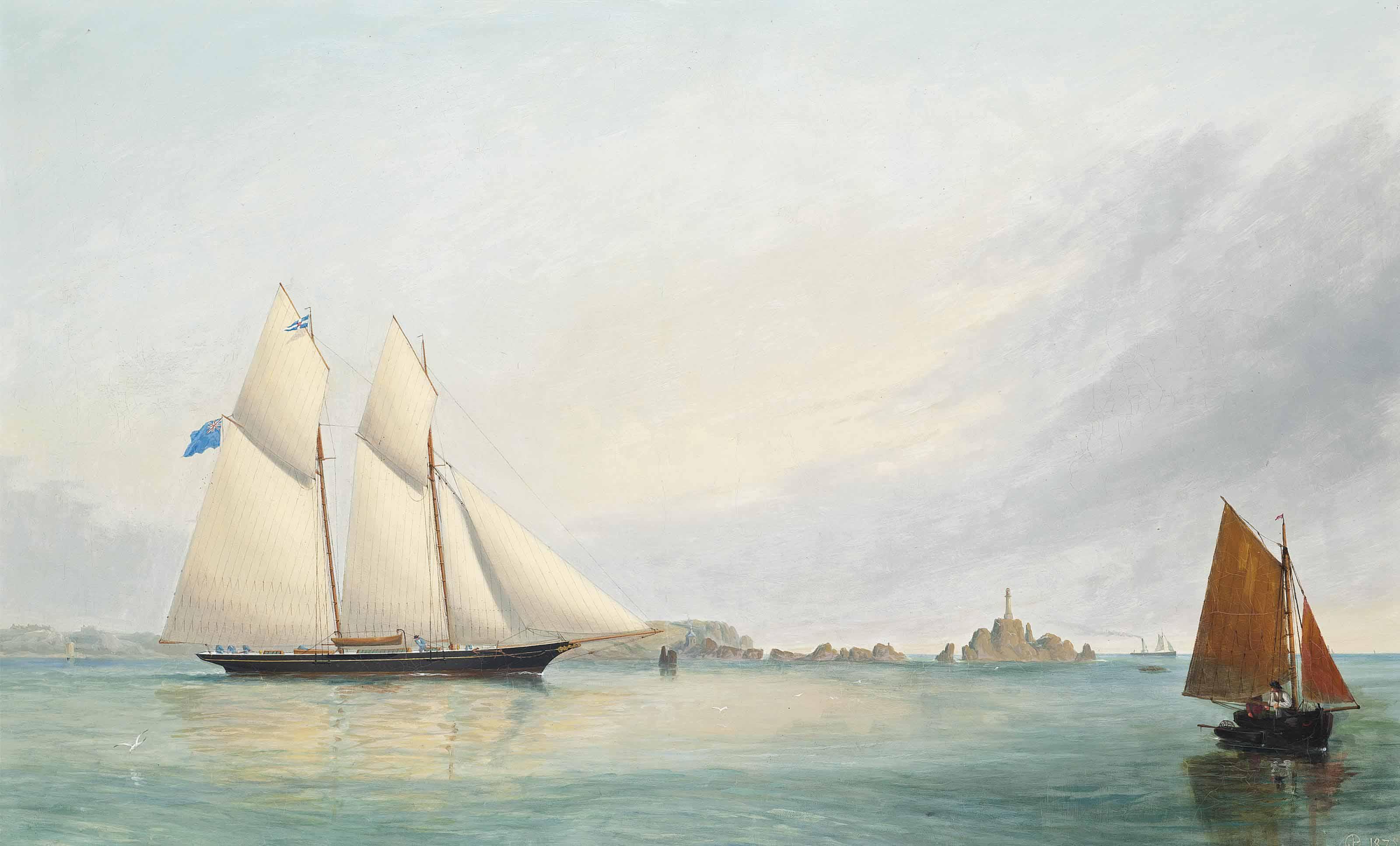 A Royal Thames Yacht Club schooner off La Corbière lighthouse, Jersey, Channel Islands