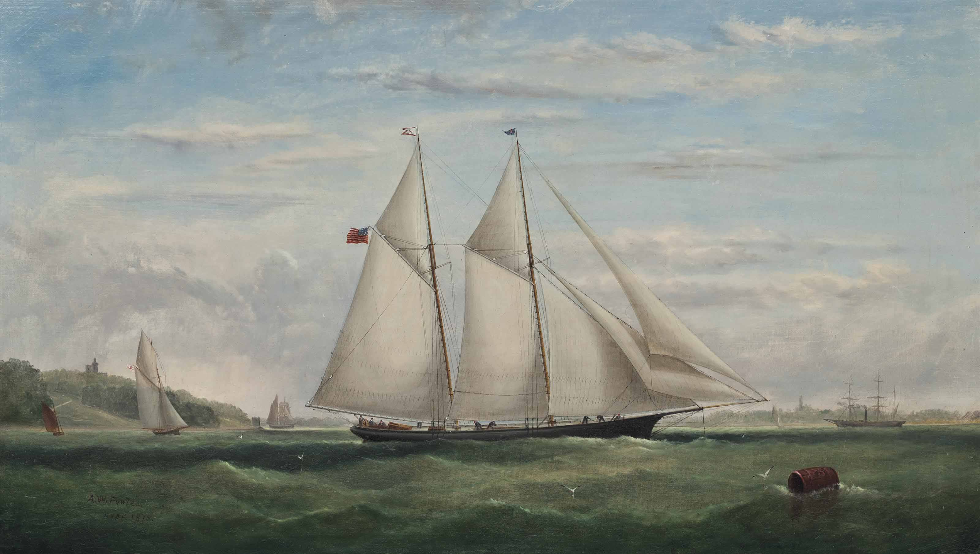 A schooner yacht of the New York Yacht Club racing off Ryde, Isle of Wight