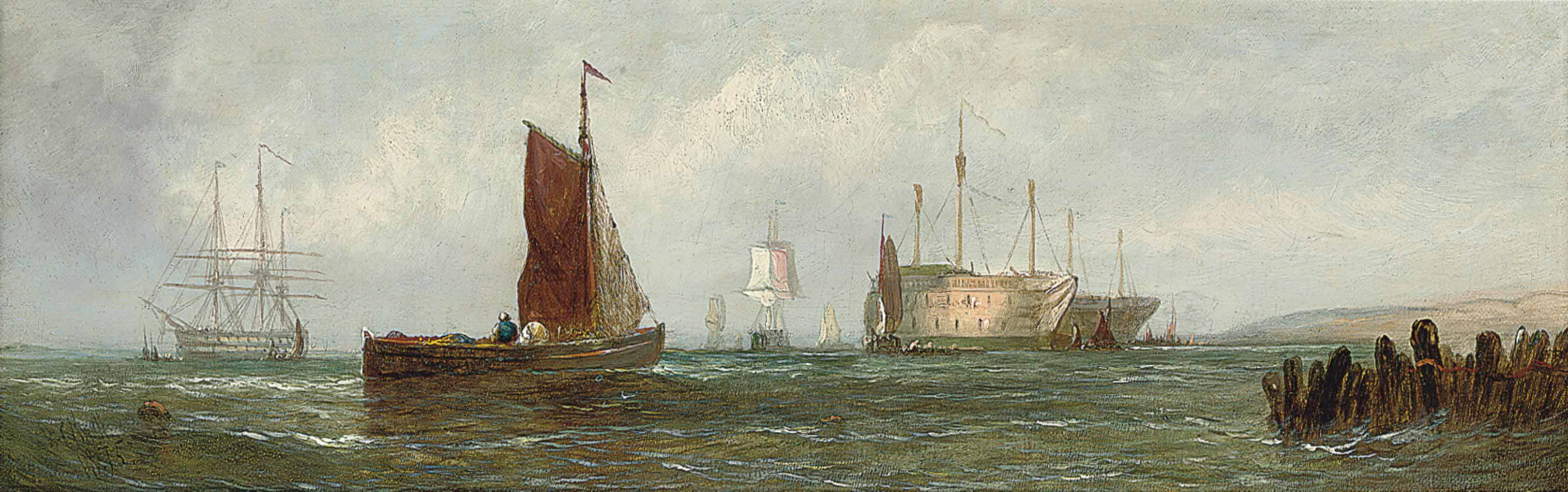 Fishing boats at the mouth of the Thames; and On the Medway (one illustrated)