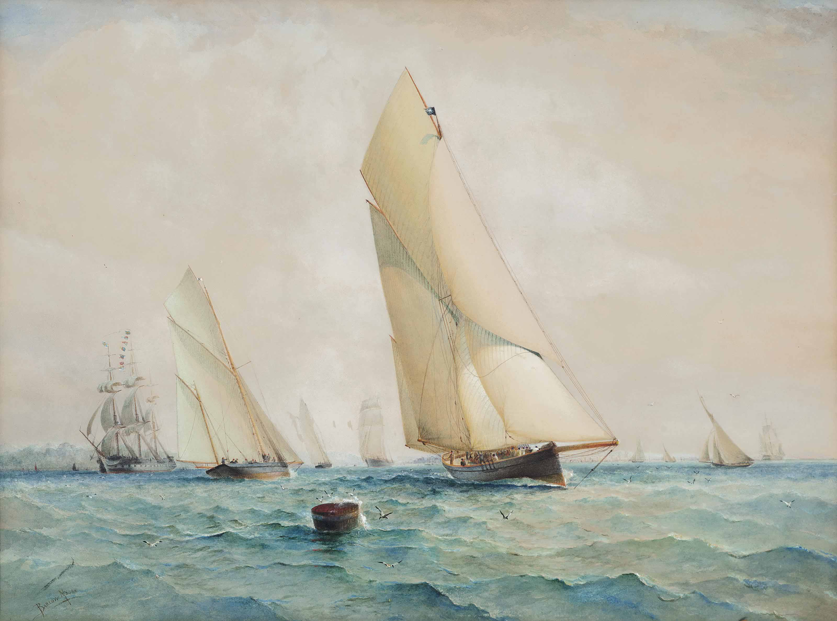 Erycina winning the Queen's Cup at Cork, 1887