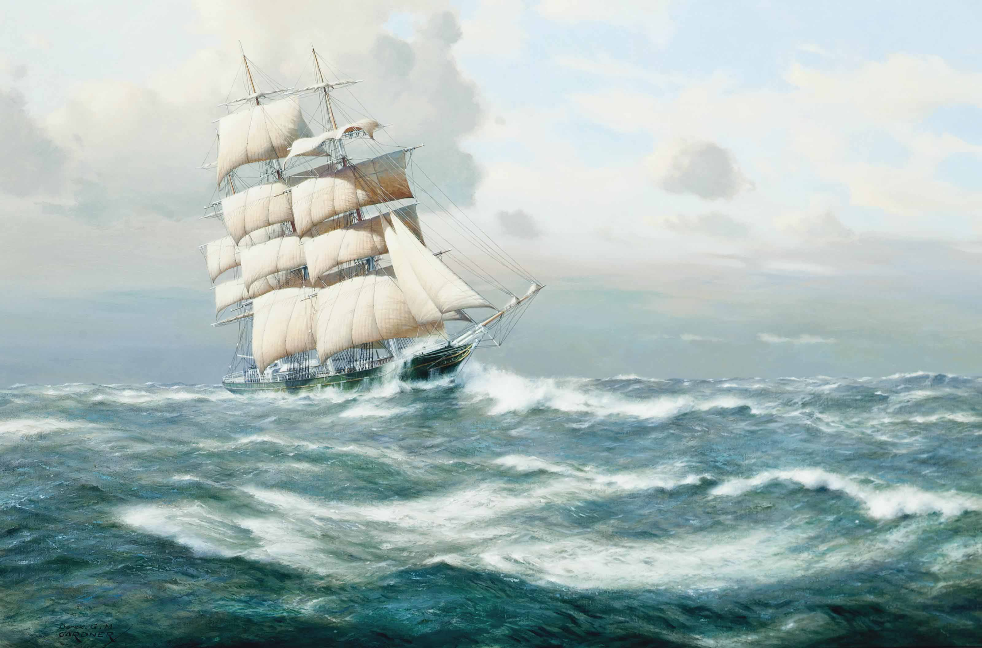 The renowned tea clipper Thermopylae battling the elements
