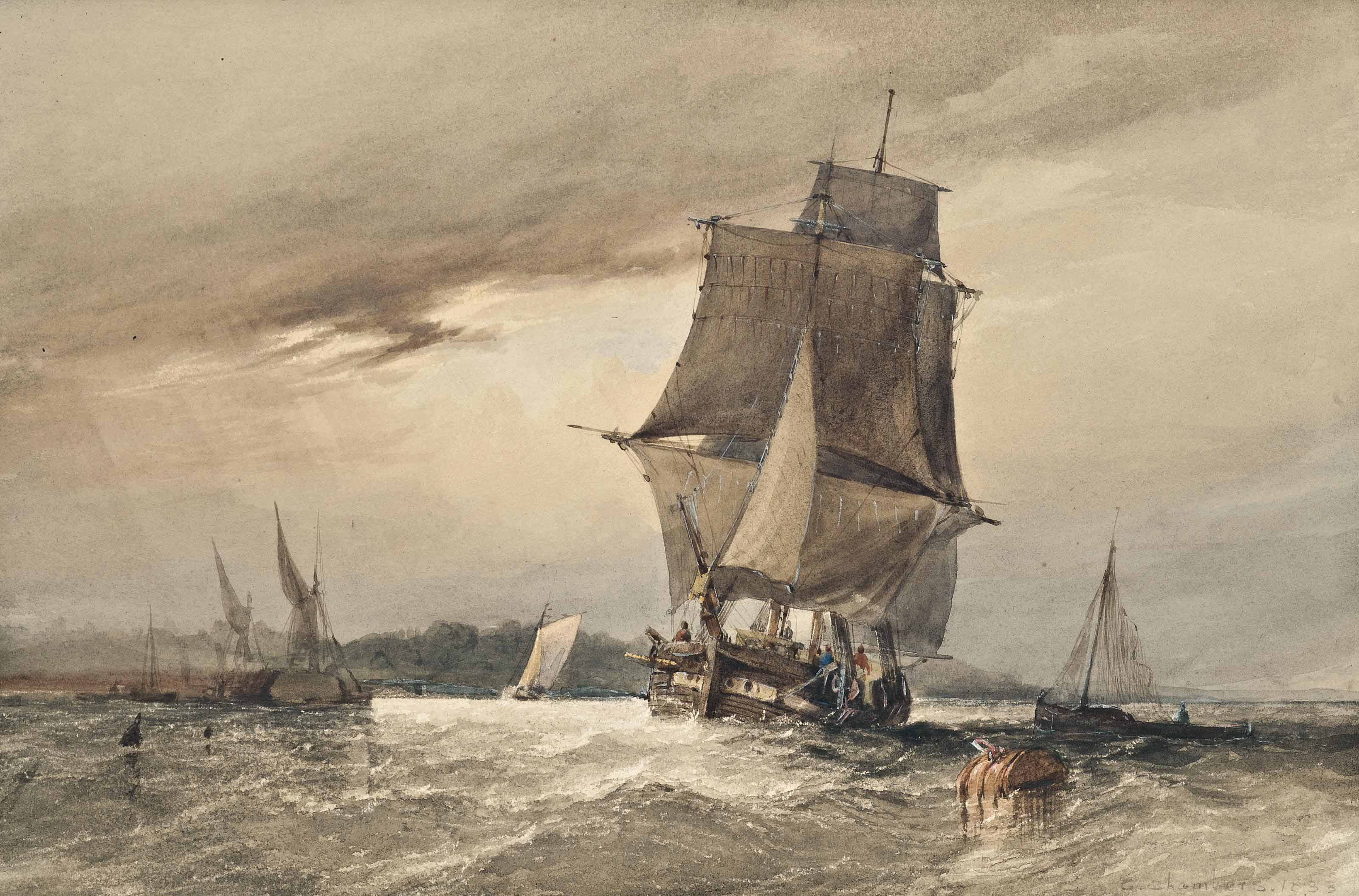 A trading brig running for shelter before the storm