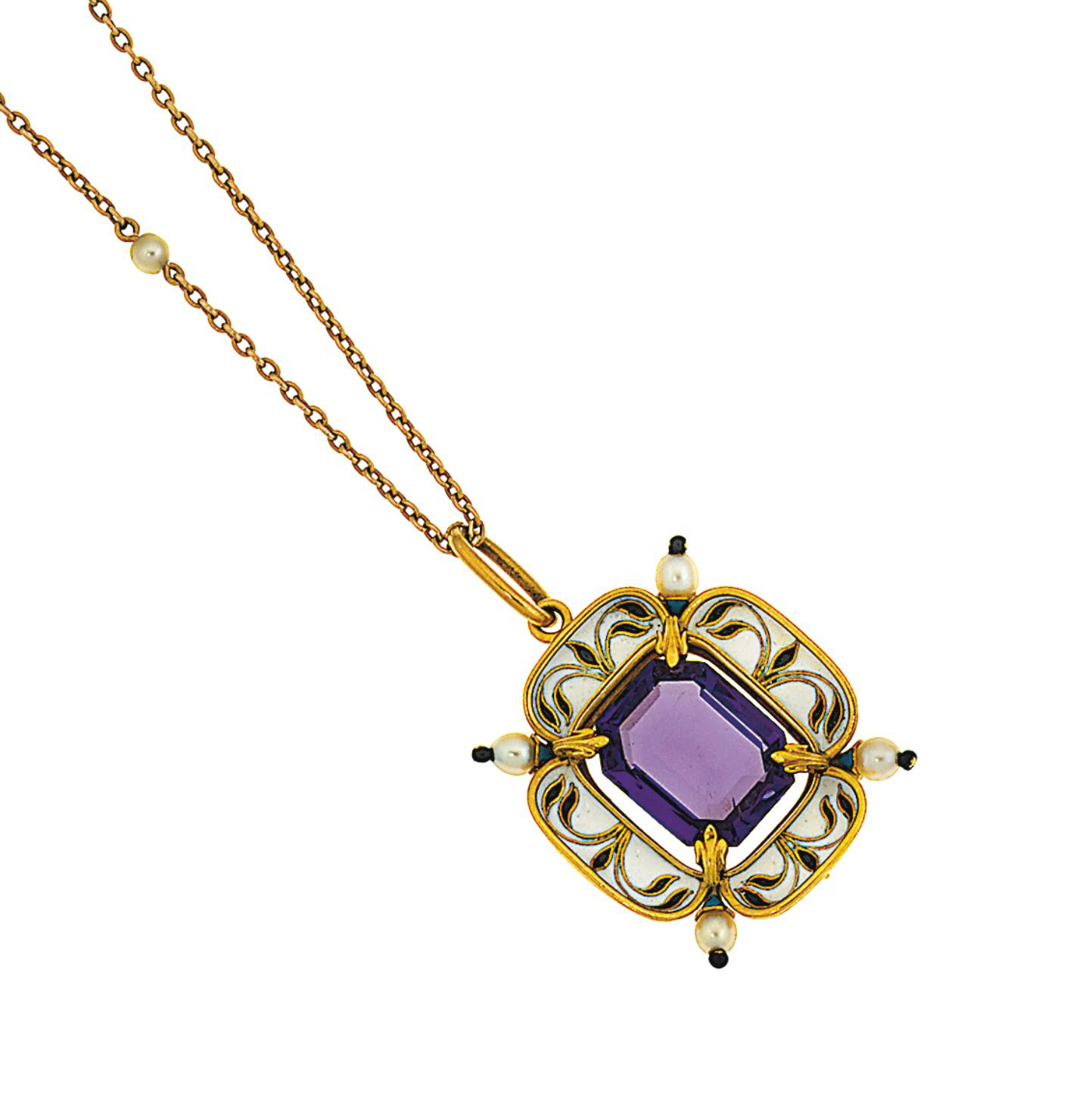 An amethyst, pearl and enamel pendant necklace, by Phillips Bros. and Son