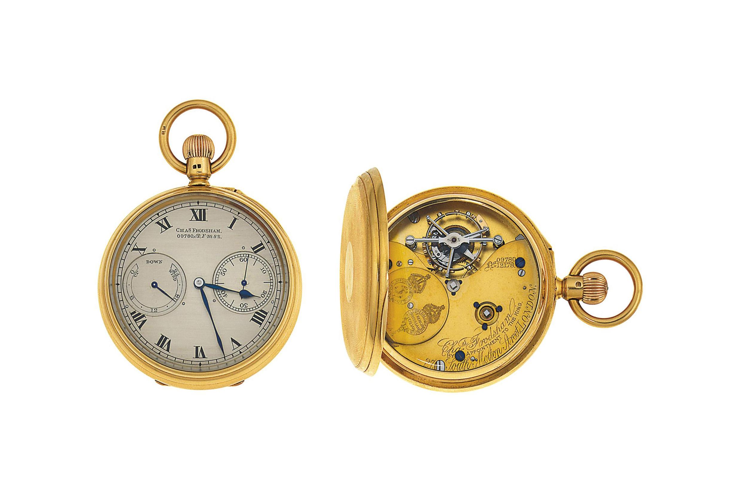 An 18ct. gold tourbillon keyless open face pocket watch, by Charles Frodsham