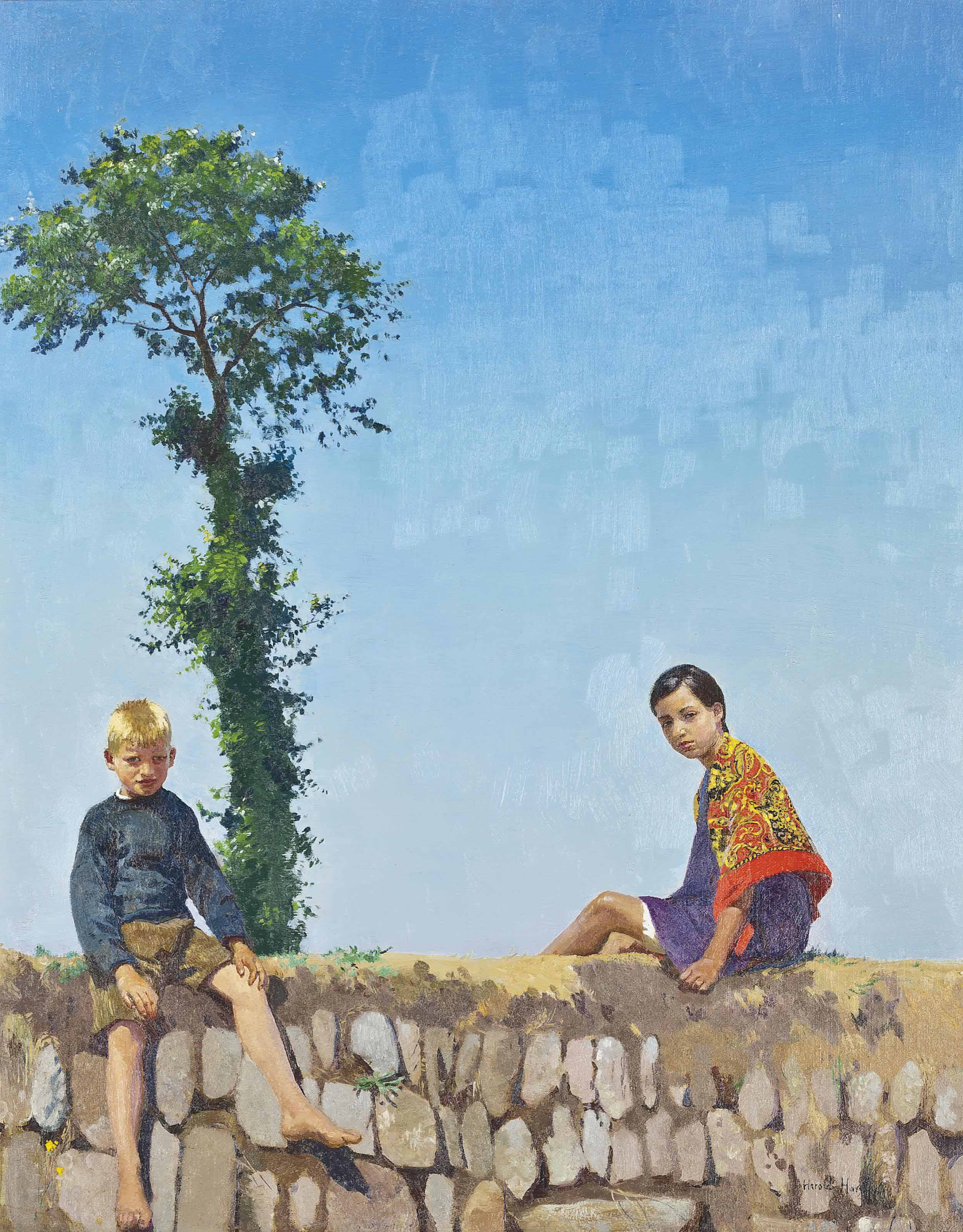 Children sitting on a Wall