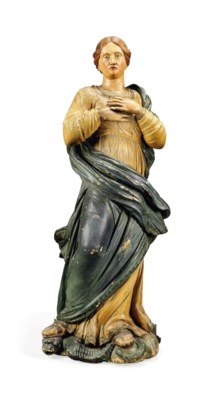 A CARVED WOOD AND POLYCHROME D