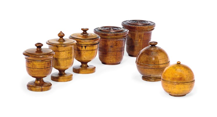 SEVEN ASSORTED FRUITWOOD VASES