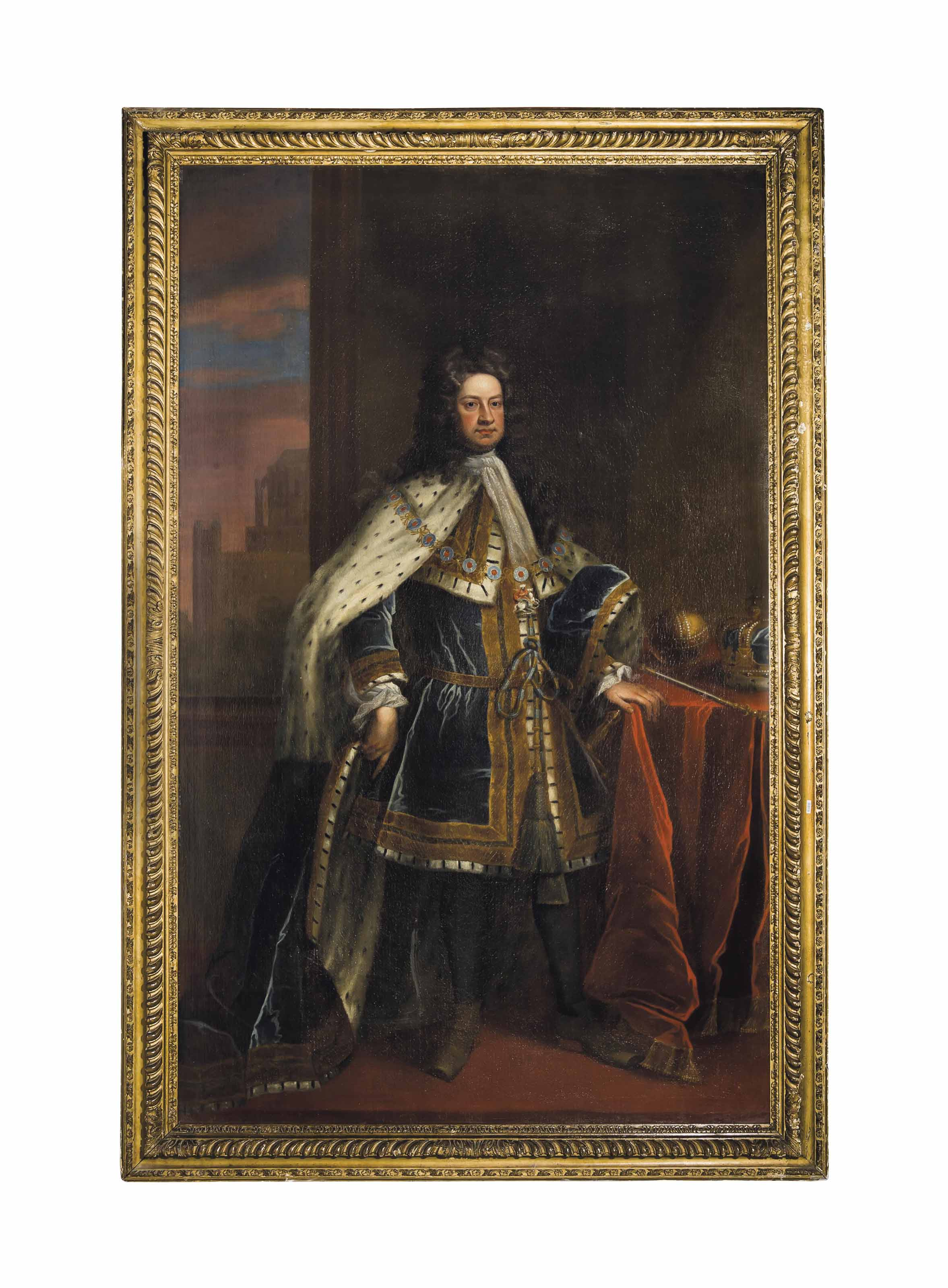 Portrait of King George I, full-length, in robes of state, wearing the collar of the Garter, the crown and sceptre on a table to his right, the east end of Westminster Abbey and St. Stephen's Chapel beyond