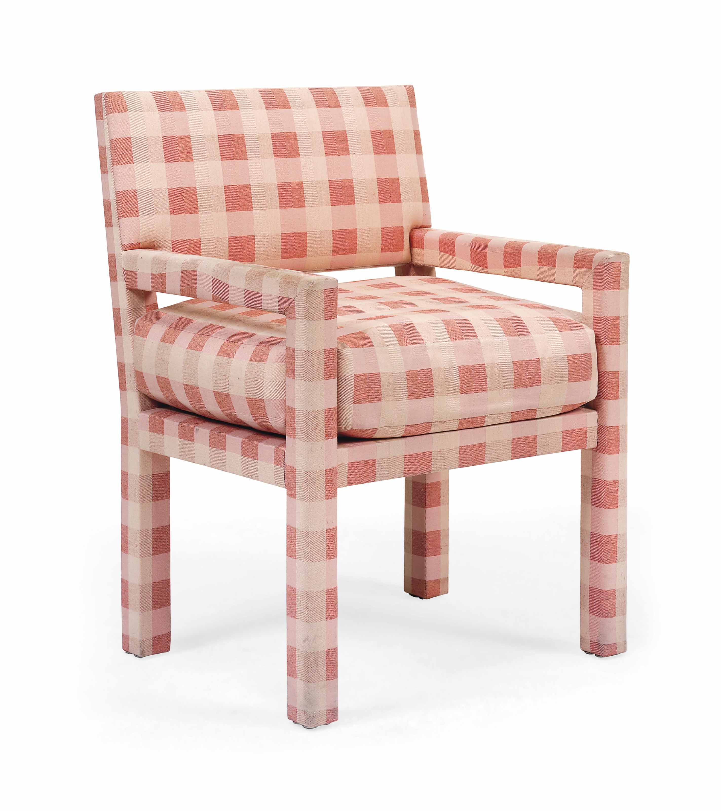 A DAVID HICKS CHECKED-COTTON UPHOLSTERED ARMCHAIR