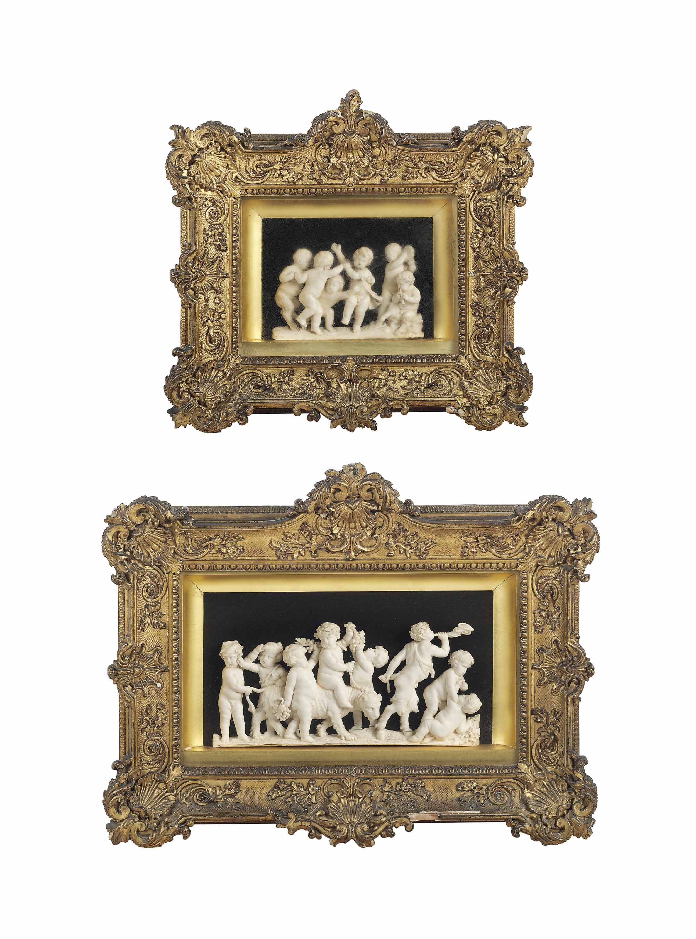 A CARVED IVORY RELIEF OF EIGHT INFANT BACCHI PLAYING