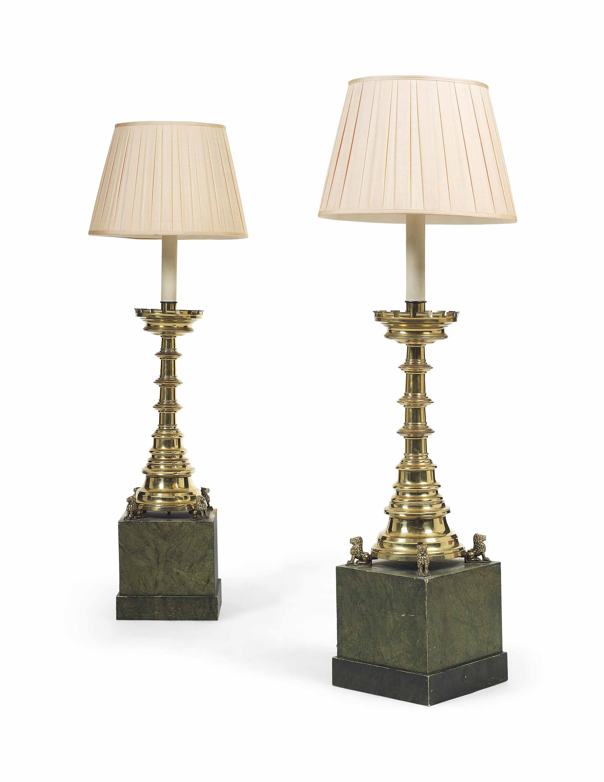A PAIR OF ENGLISH BRASS ALTARSTICKS