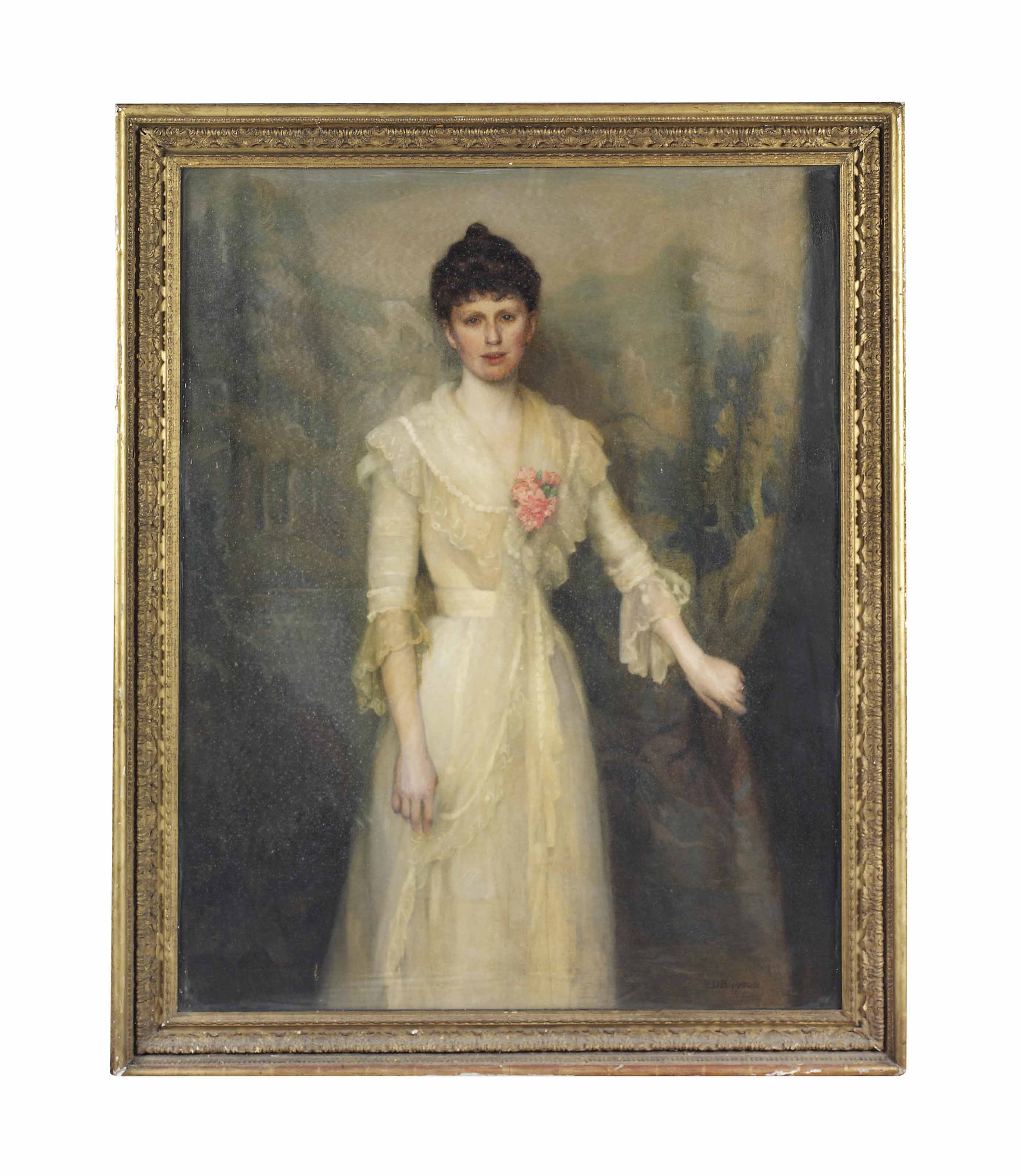 Portrait of Lady Esther Smith, three-quarter-length, wearing a white chiffon dress with a pink carnation