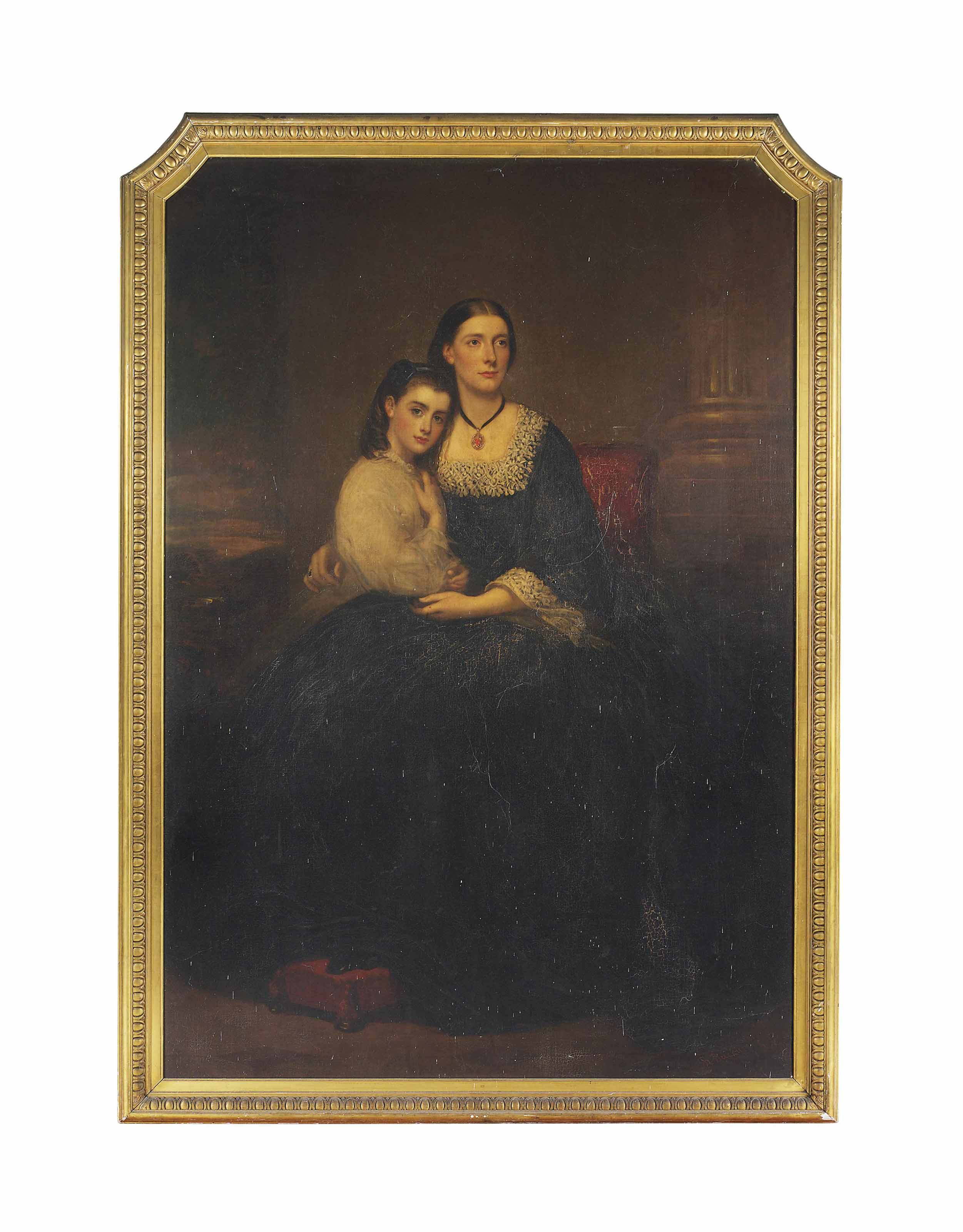 Portrait of Emily, 1st Vicountess Hambleden, and her daughter, full-length, seated on a red chair