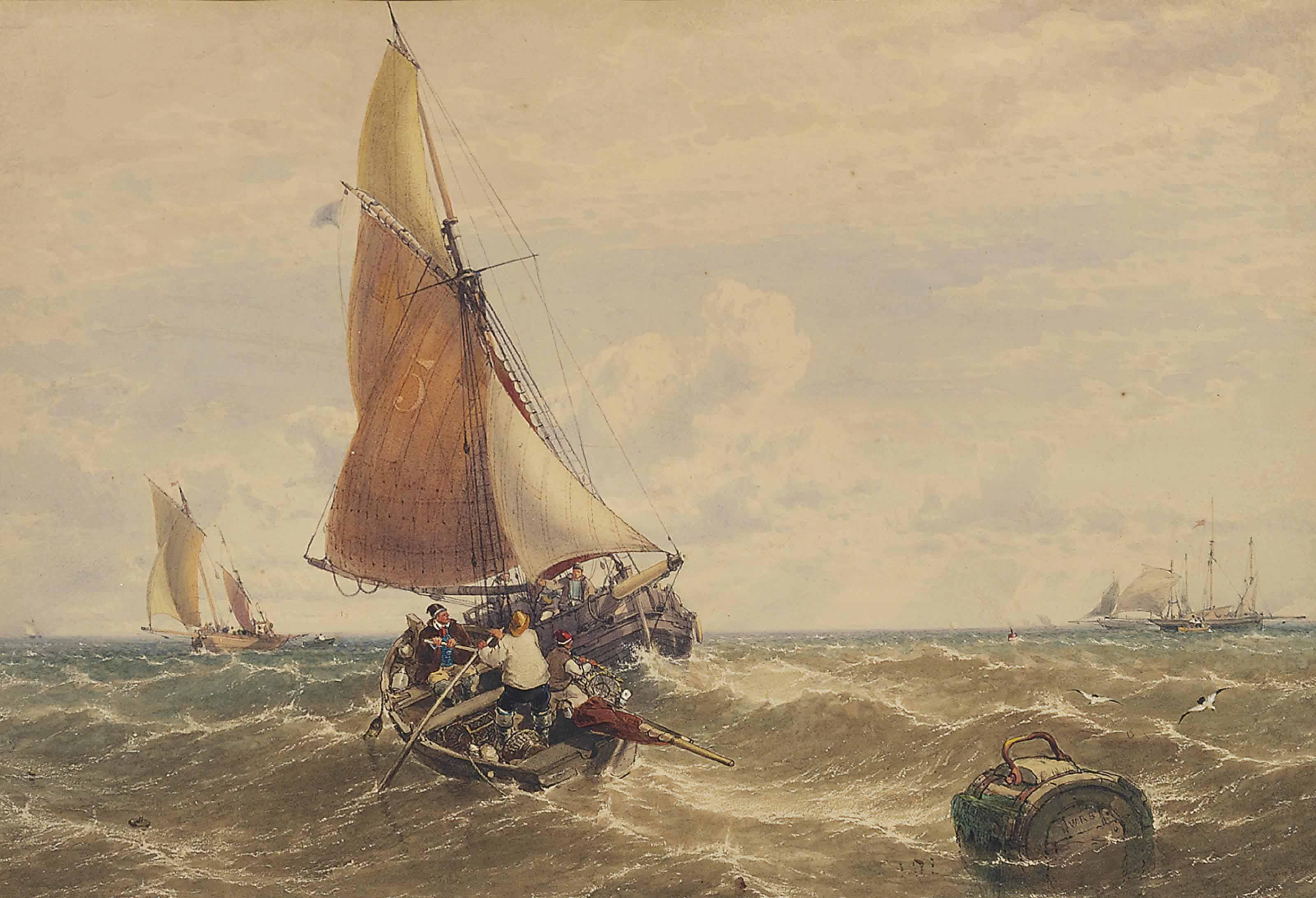 Fishermen hauling in the catch in a stiff breeze