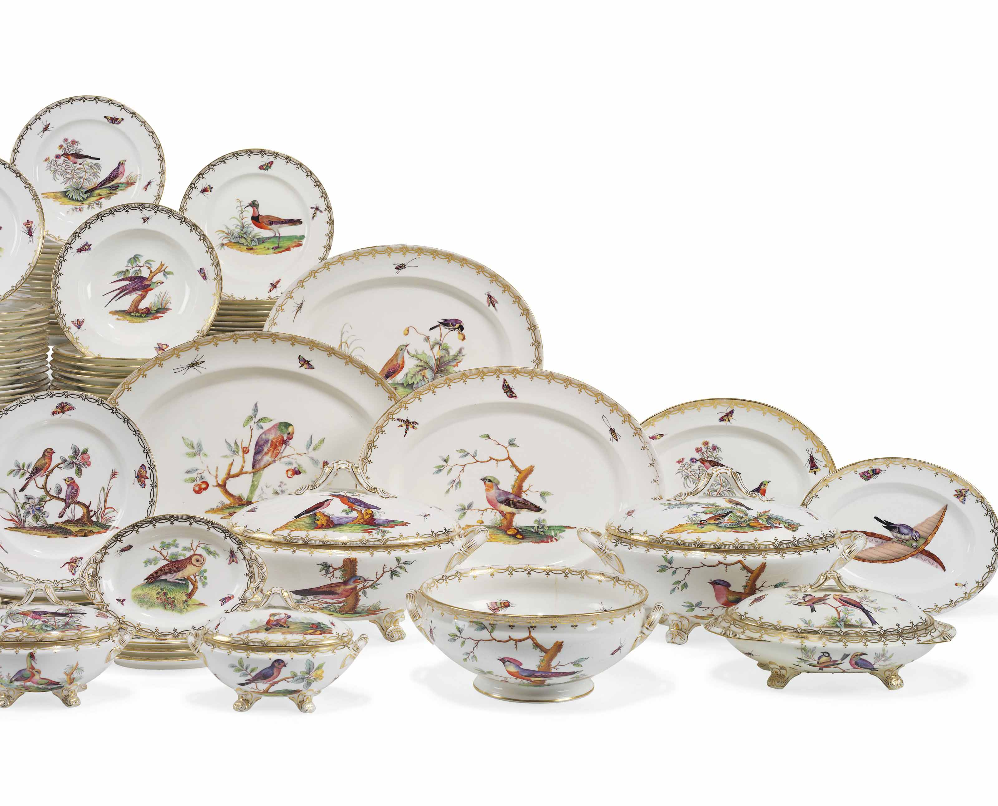 A COALPORT ORNITHOLOGICAL PART DINNER-SERVICE