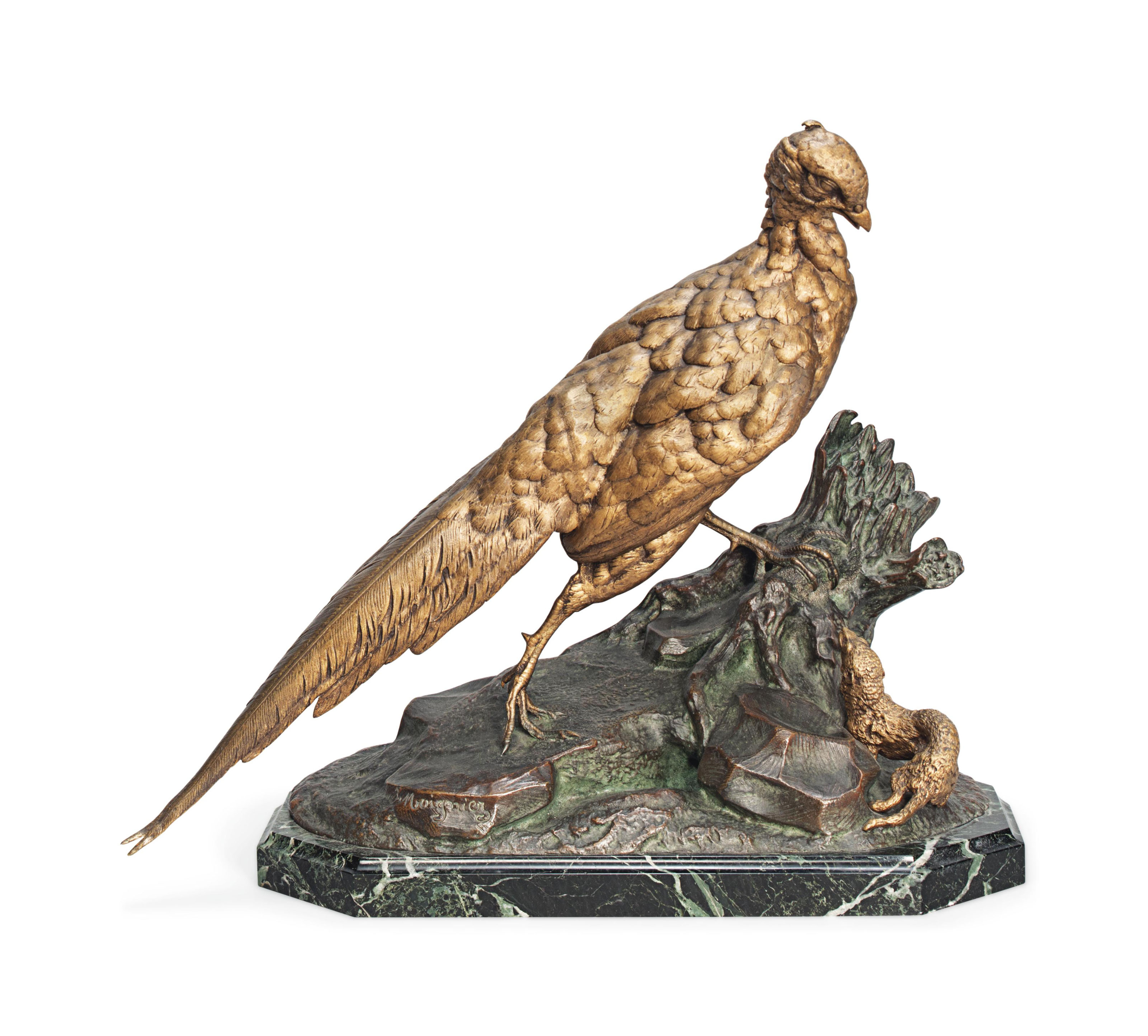 A BRONZE MODEL OF A PHEASANT AND A STOAT