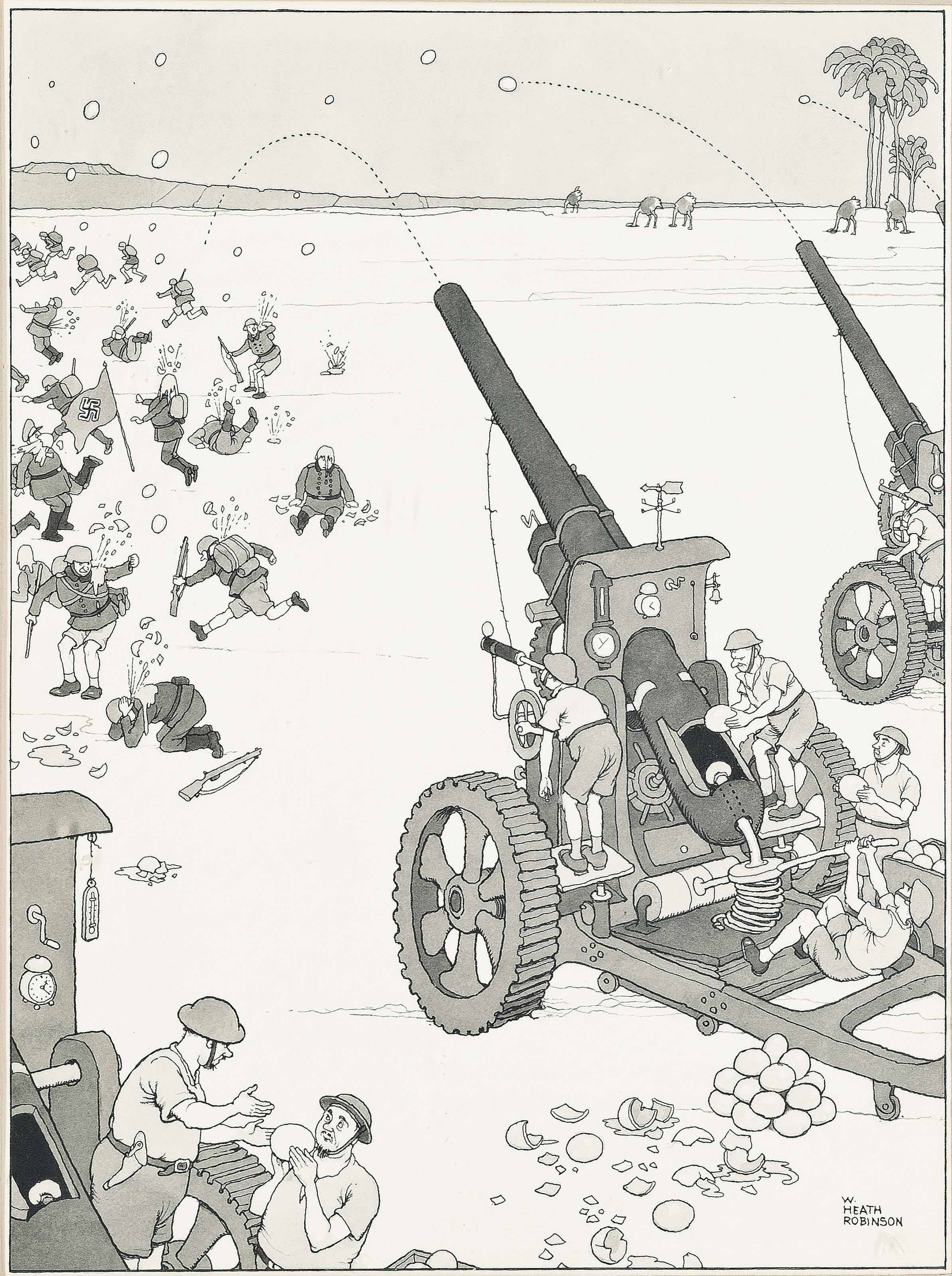 'A battery of our stale ostrich egg throwers for economising ammunition in desert warfare.'