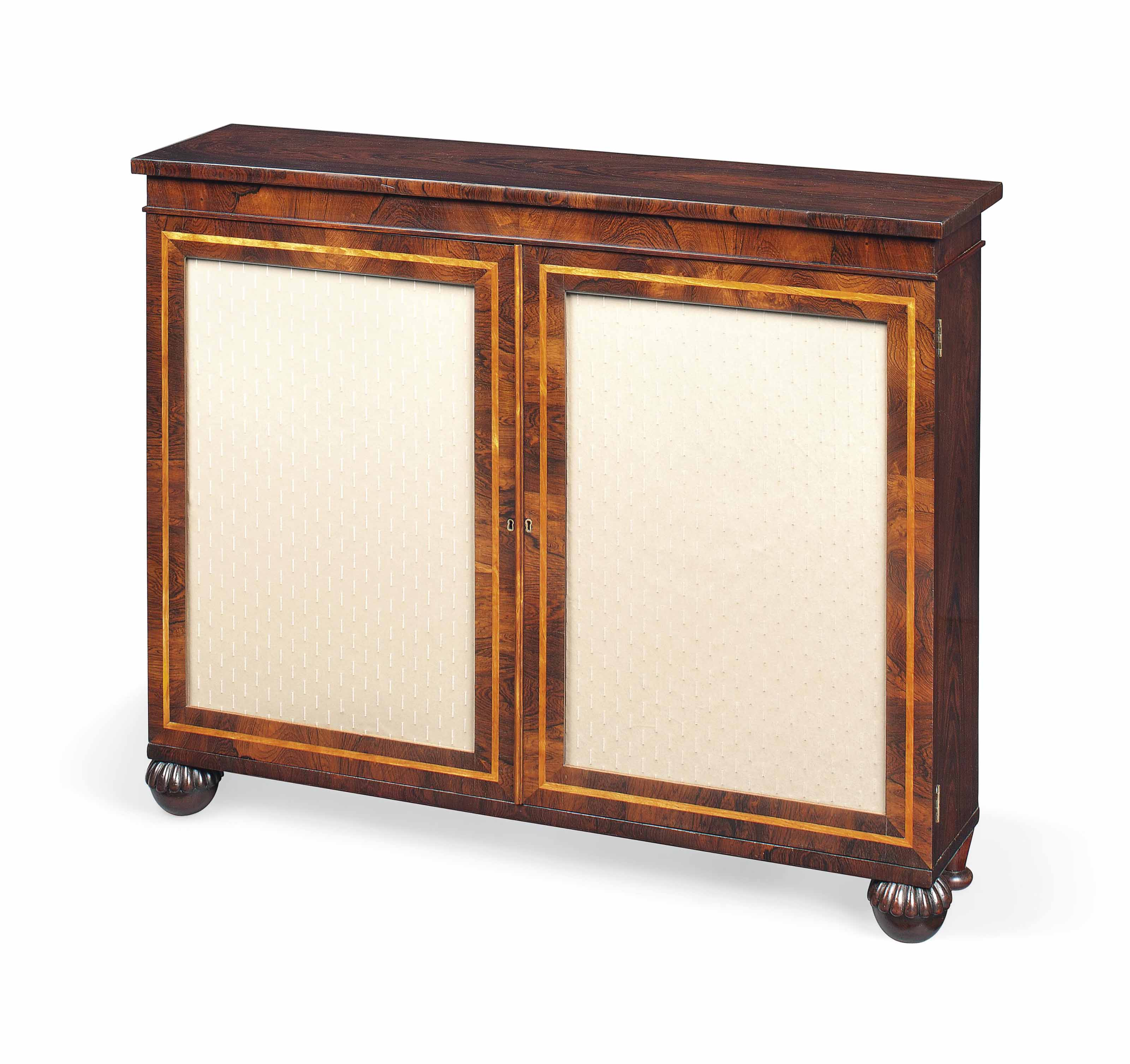 A REGENCY ROSEWOOD AND SATINBIRCH BANDED SIDE CABINET