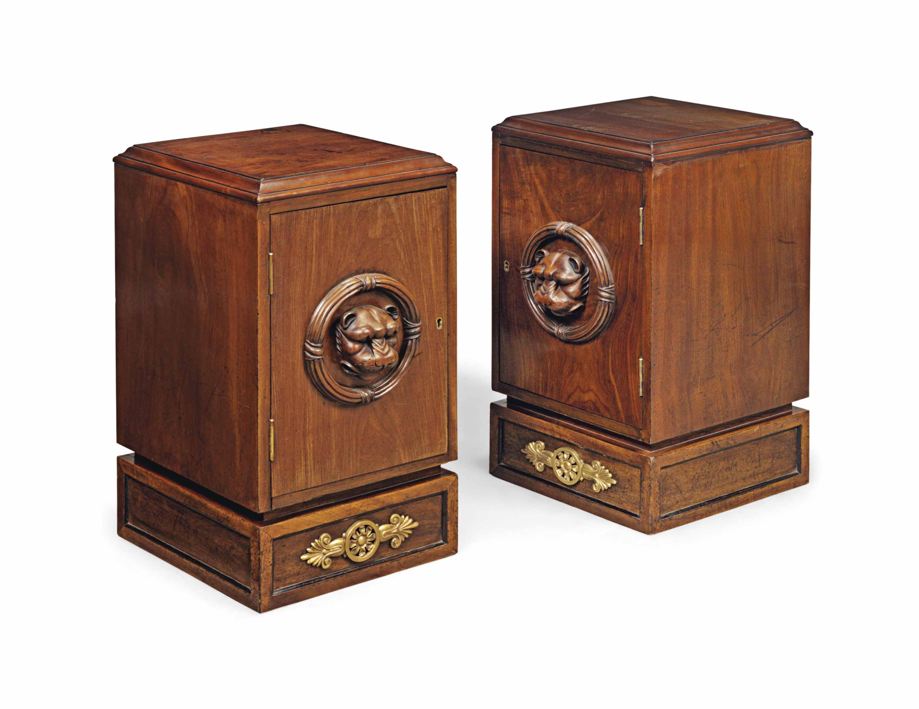A PAIR OF BRASS-MOUNTED MAHOGANY BEDSIDE CABINETS