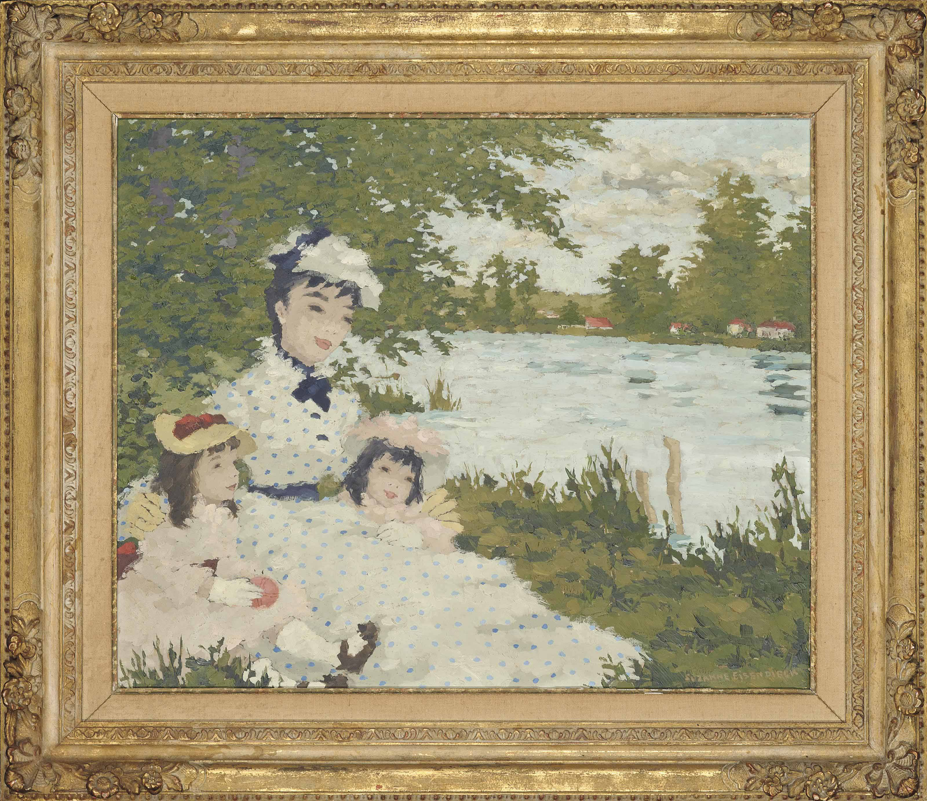 A mother and her children by the river