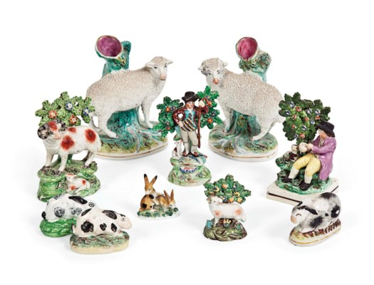 A GROUP OF STAFFORDSHIRE POTTE